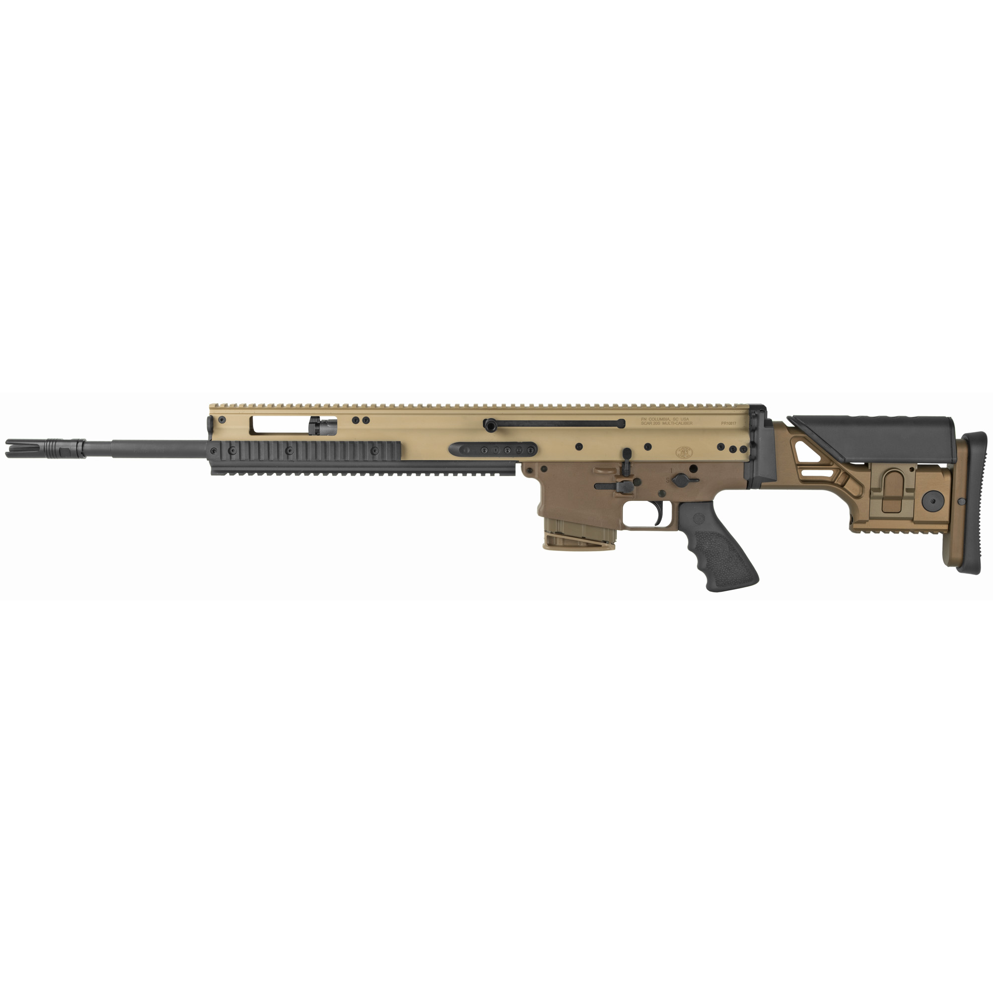"""Take aim with the all-new FN SCAR(R) 20S"""" the latest in battle-proven technology based on the legendary DNA of the 7.62-calibered MK 17 and MK 20 SSR. Perfectly calibrated for long-range precision fire"""" the SCAR 20S gives you the ability to engage targets nearing 800 yards with ease. The gas-operated piston design absorbs recoil efficiently to improve follow-up shots and maintain target acquisition. Lending further aid is the match-grade"""" two-stage trigger that breaks crisply at 3.5-4.5 pounds"""" full-length MIL-STD 1913 rail at 12 o'clock position"""" and fixed buttstock providing adaptability to fit to each user's needs through adjustable length of pull and cheek rest height."""