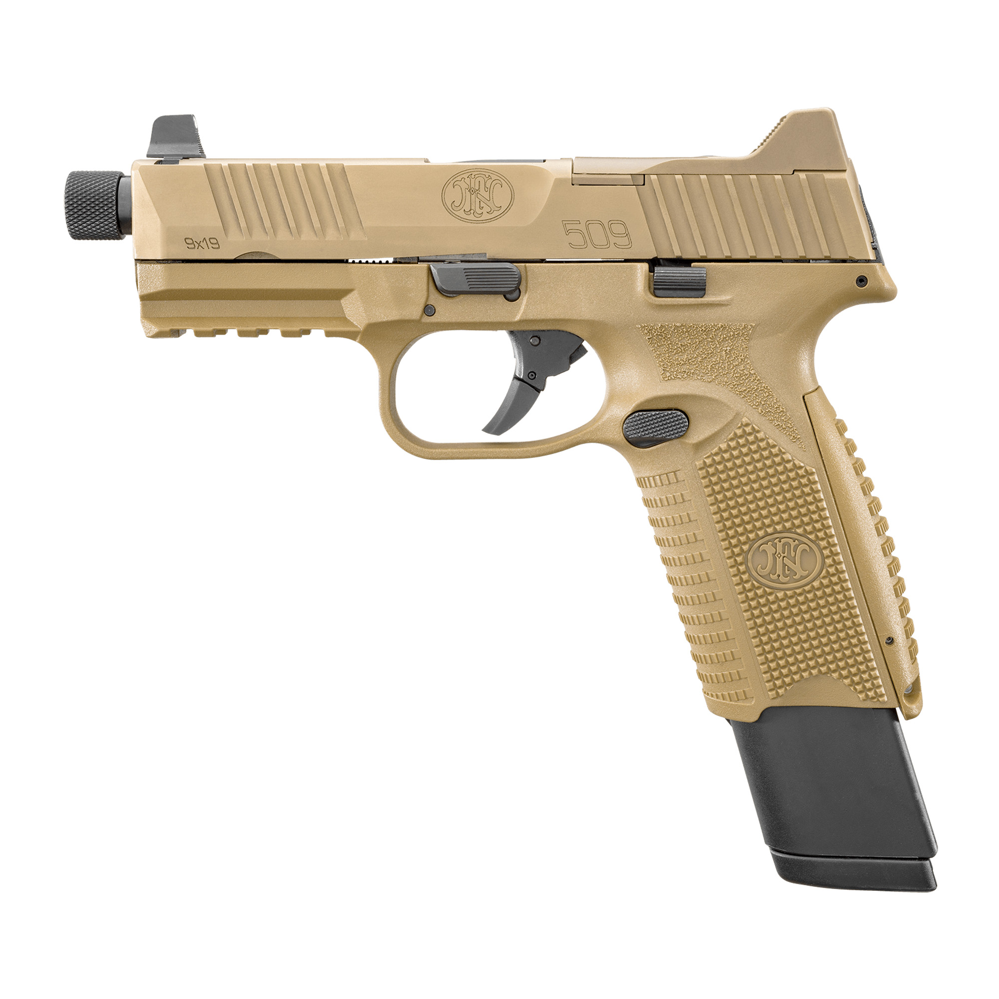 """The FN 509(R) Tactical"""" an extension of the FN 509 family"""" is based on FN's submission pistol that the U.S. Army tested for its Modular Handgun Trials"""" but includes the significant improvements to the design that were implemented in the FN 509. The pistol features the company's patent-pending Low-Profile Optics Mounting System(TM) that enables the platform to accept more than ten commercially-available miniature red dot (MRD) optics that co-witness with the suppressor-height night sights and remain adaptable to future optics releases with no requirement of direct milling of the slide."""