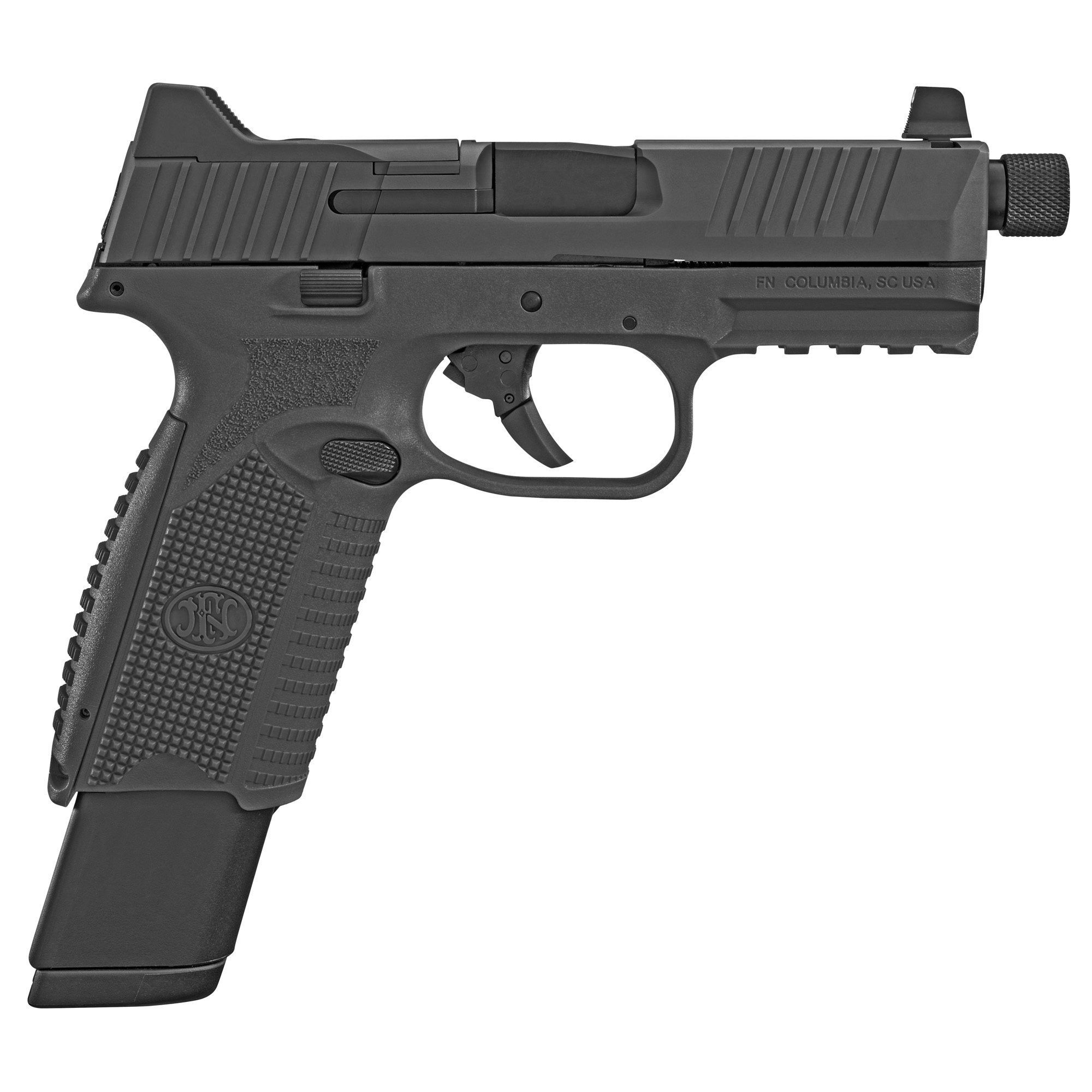 """The FN 509(R) Tactical"""" an extension of the FN 509 family"""" is based on FN's submission pistol that the U.S. Army tested for its Modular Handgun Trials"""" but includes the significant improvements to the design that were implemented in the FN 509. The pistol features the company's patent-pending Low-Profile Optics Mounting System(TM) that enables the platform to accept more than ten commercially-available miniature red dot (MRD) optics that co-witness with the suppressor-height night sights and remain adaptable to future optics releases with no requirement of direct milling of the slide. The slide cap"""" for use when not shooting with an optic"""" has raised sight wings that protect iron sight alignment if the pistol is dropped or jostled"""" and provides a textured ramp for racking the slide against a belt loop"""" pant pocket or boot. An FN-signature 4.5-inch"""" cold hammer-forged"""" stainless-steel barrel with target crown"""" 1/2"""" x 28 threads that accept the bulk of 9mm suppressors available and thread cap with integrated O-ring to prevent loosening during use complete the top end. Lastly"""" the 24-round magazines"""" nearly identical in length to the pistol's slide"""" maximize ammunition capacity without impacting carry convenience."""