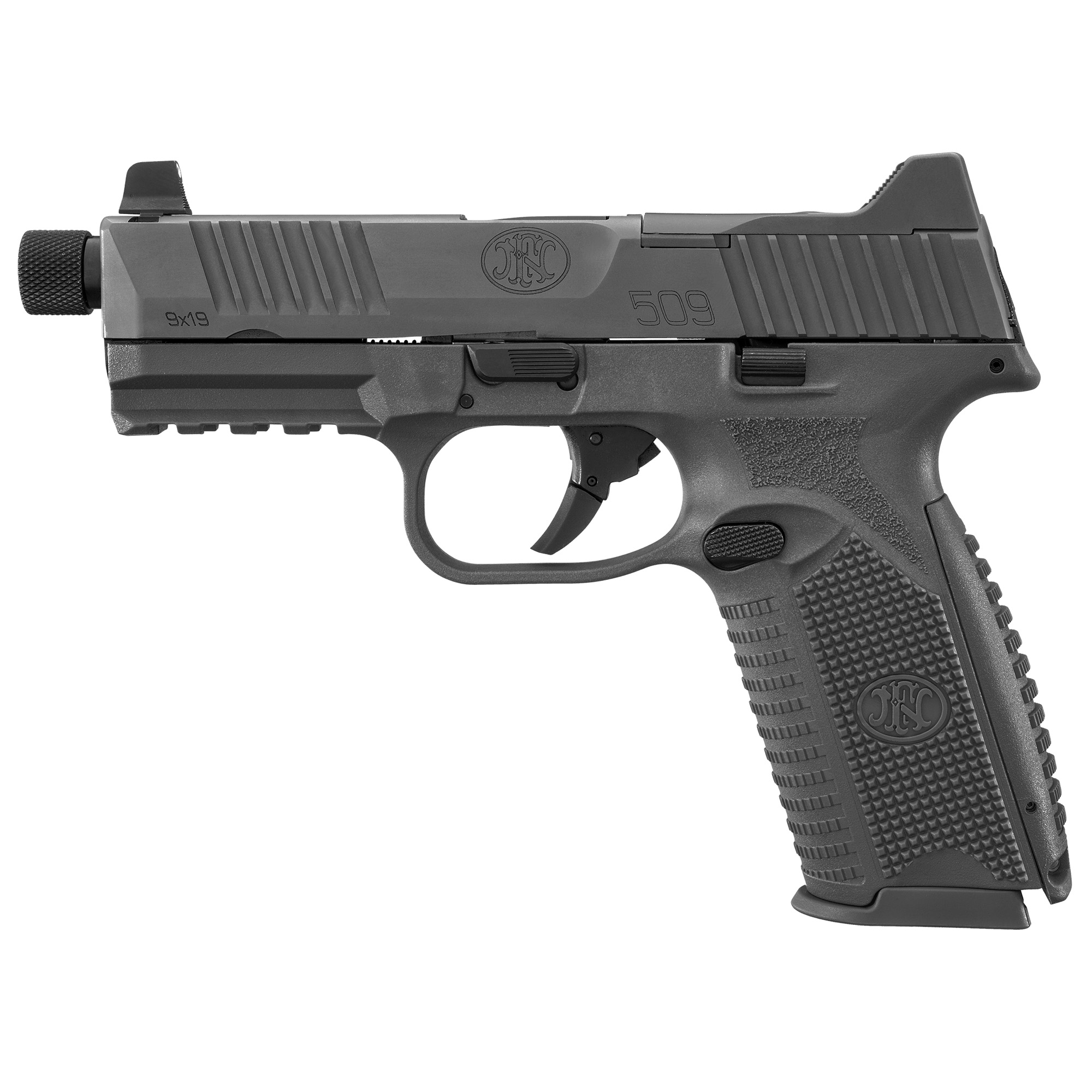 """The FN 509(R) Tactical"""" an extension of the FN 509 family"""" is based on FN's submission pistol that the U.S. Army tested for its Modular Handgun Trials"""" but includes the significant improvements to the design that were implemented in the FN 509. The pistol features the company's patent-pending Low-Profile Optics Mounting System(TM) that enables the platform to accept more than ten commercially-available miniature red dot (MRD) optics that co-witness with the suppressor-height night sights and remain adaptable to future optics releases with no requirement of direct milling of the slide. The slide cap"""" for use when not shooting with an optic"""" has raised sight wings that protect iron sight alignment if the pistol is dropped or jostled"""" and provides a textured ramp for racking the slide against a belt loop"""" pant pocket or boot. An FN-signature 4.5-inch"""" cold hammer-forged"""" stainless-steel barrel with target crown"""" 1/2"""" x 28 threads that accept the bulk of 9mm suppressors available and thread cap with integrated O-ring to prevent loosening during use complete the top end."""