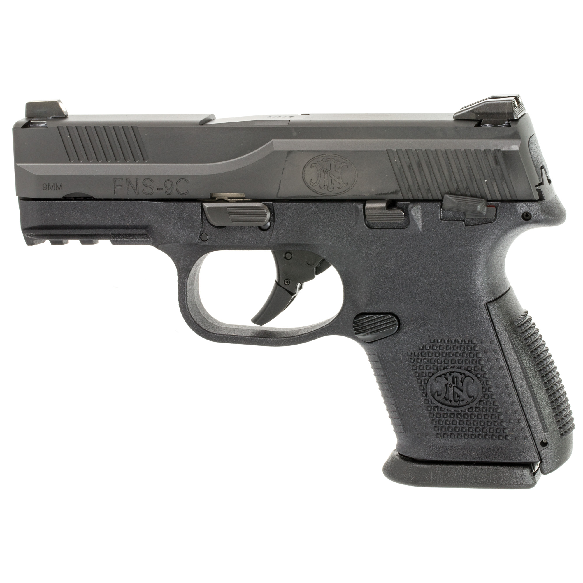 """The FNS(TM)-9 Compact offers the same features as the standard models but has a 3.6"""" barrel and is designed to be snag-free for better concealment and a faster draw. The front sight also has a larger dot for faster target acquisition."""