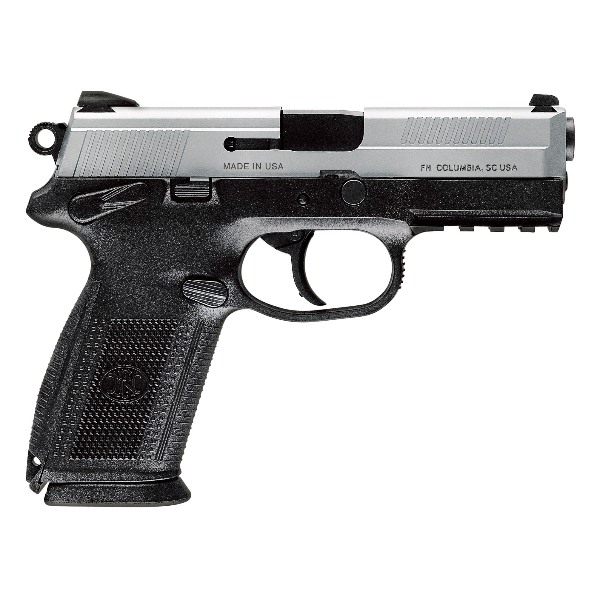 """The FNX(TM)-9 features an ergonomic"""" polymer frame with a low-bore axis for less felt recoil and improved control. The grip panels are checkered and ribbed for comfortable"""" no-snag carry. Two interchangeable backstrap inserts quickly adapt the FNX(TM) to your hand size. The profiled stainless steel slide has cocking serrations front and rear"""" and the 4-inch cold hammer-forged stainless steel barrel delivers pinpoint accuracy. Ambidextrous operating controls make this handgun perfect for competition or personal defense."""