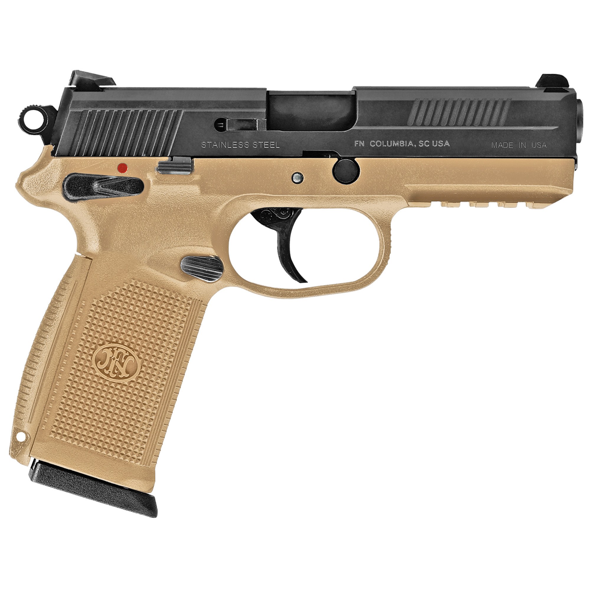 """The FNX(TM)-45 is the result of years of innovative product development and advanced engineering techniques. Modeled after the FNP(TM)-45 service pistol introduced in 2007 under the U.S. Joint Combat Pistol Program"""" the FNX(TM)-45 is a double-action/single-action hammer-driven pistol with highly enhanced ergonomics. Its manual safety/decocking levers"""" slide stop lever"""" and magazine release are all fully ambidextrous for ease of operation with either hand and from any firing position."""