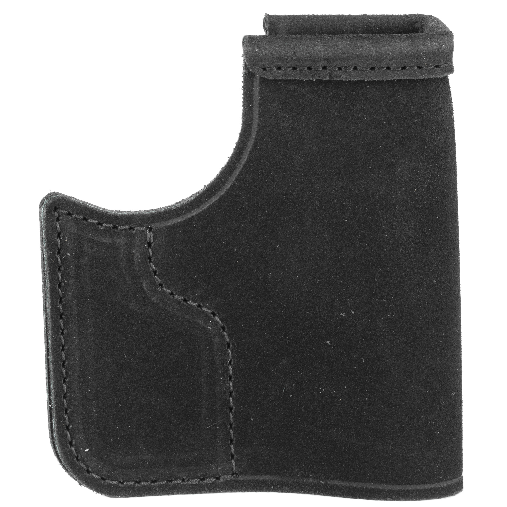 "The Pocket Protector(TM) holster is designed for front pocket carry in pants or a jacket. The Pocket Protector keeps the firearm in the same general position so you can quickly locate the grip when you need to draw"" conceals the shape of the gun so that its outline is not printed through the pants"" and allows one-handed release of gun from both pocket and holster. Reinforcements at the holster mouth and beneath the trigger guard keep the holster stiff enough to allow a smooth draw and easy return to the holster"" while also maintaining enough rigidity to prevent ""printing"" and shifting of the handgun. The holster's hooked shape - at the base of the handgun's trigger guard - is designed to catch on the pocket so that"" with practice (using an unloaded firearm) and while using the proper pants"" you can draw the firearm while the holster remains in your pocket or falls away. The Pocket Protector is ambidextrous and constructed of premium Center Cut Steerhide(TM)."