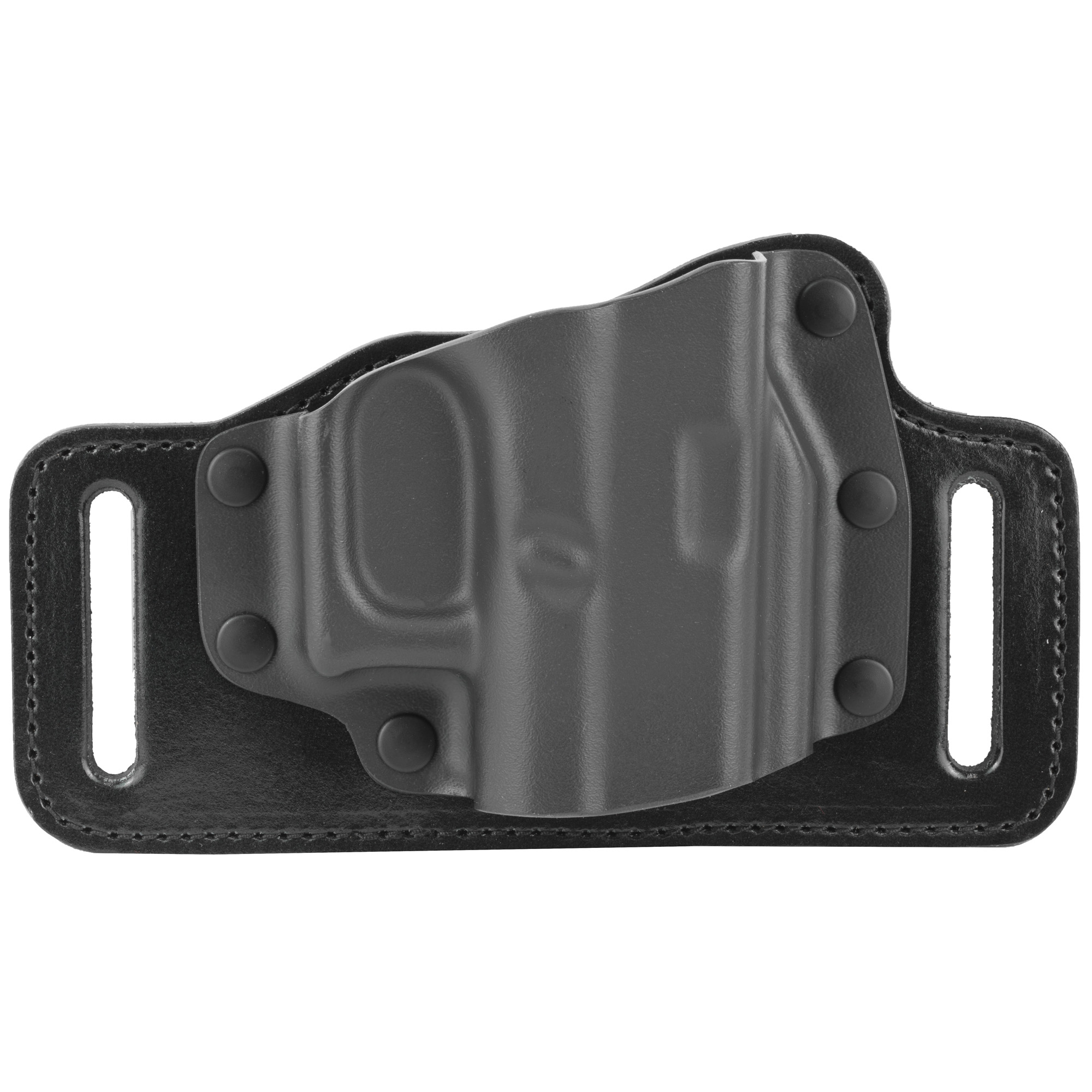 "Galco's TacSlide(TM) combines steerhide and Kydex(R) for a belt holster that is fast"" concealable"" and very economical! Following on the tremendous success of the hybrid KingTuk(TM) IWB"" the TacSlide mates a Kydex holster pocket to a slotted steerhide backplate. An open top and near-neutral cant make the draw fast and simple. The wide spacing of the 1 3/4"" belt slots pulls the handgun in tight to the body for excellent concealment. The TacSlide's silhouetted"" belt-slide design accommodates multiple barrel lengths on the same basic frame size while simultaneously minimizing overall bulk. The steerhide backplate is smooth where it rides against the wearer's body"" greatly increasing comfort. The TacSlide is currently offered for popular semiautos and double-action revolvers."