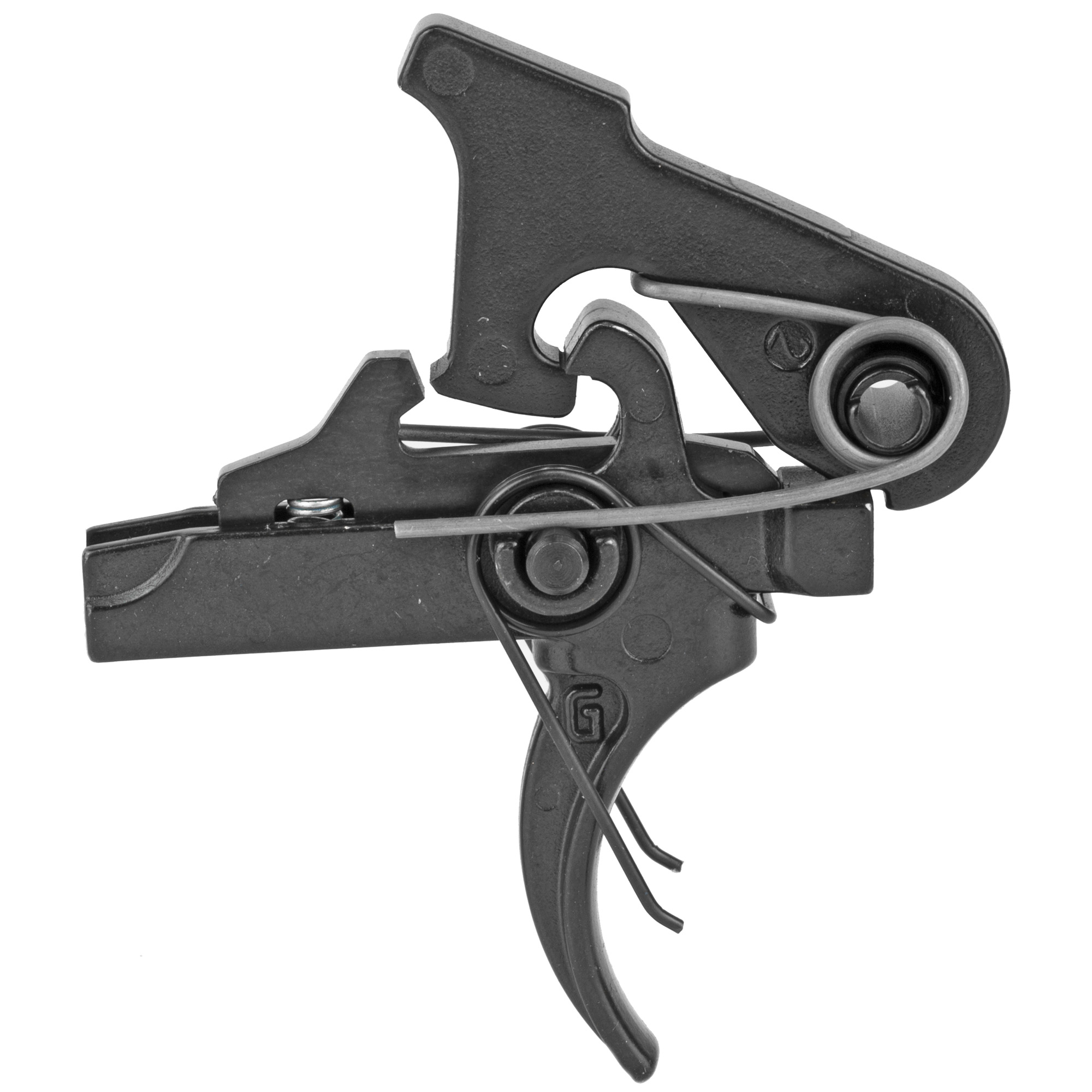 """The Geissele 2 Stage (G2S) was designed to be a high quality"""" cost effective option of the SSA. The G2S is a 4.5lb. non-adjustable combat trigger that is a precision two-stage trigger and allows precise and accurate trigger control. The G2S is manufactured from the same tool steel as the SSA. Visually"""" from the outside of the weapon there is no difference from the SSA and the feel and reliability is the same. The G2S however has a different way of holding the hammer pin in place"""" there is no laser markings"""" and the parts are only spot checked for MP."""