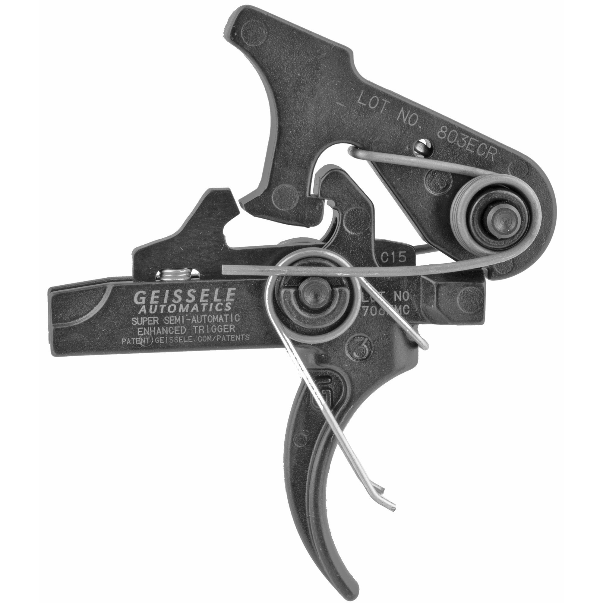 """Built on the chassis of the Geissele SSA"""" the Super Semi-Automatic Enhanced (SSA-E) provides enhanced trigger control and weapon accuracy while maintaining the robustness and reliability of our combat-proven two-stage trigger. The SSA-E's reduced first and second stage pull weights result in a trigger with a smooth"""" light first stage take-up and a crisp"""" candy cane-like second stage break. The SSA-E is ideal for use in precision Squad Designated Marksman type rifles where weapon accuracy and reliability are critical and a non-adjustable drop in trigger is desired."""