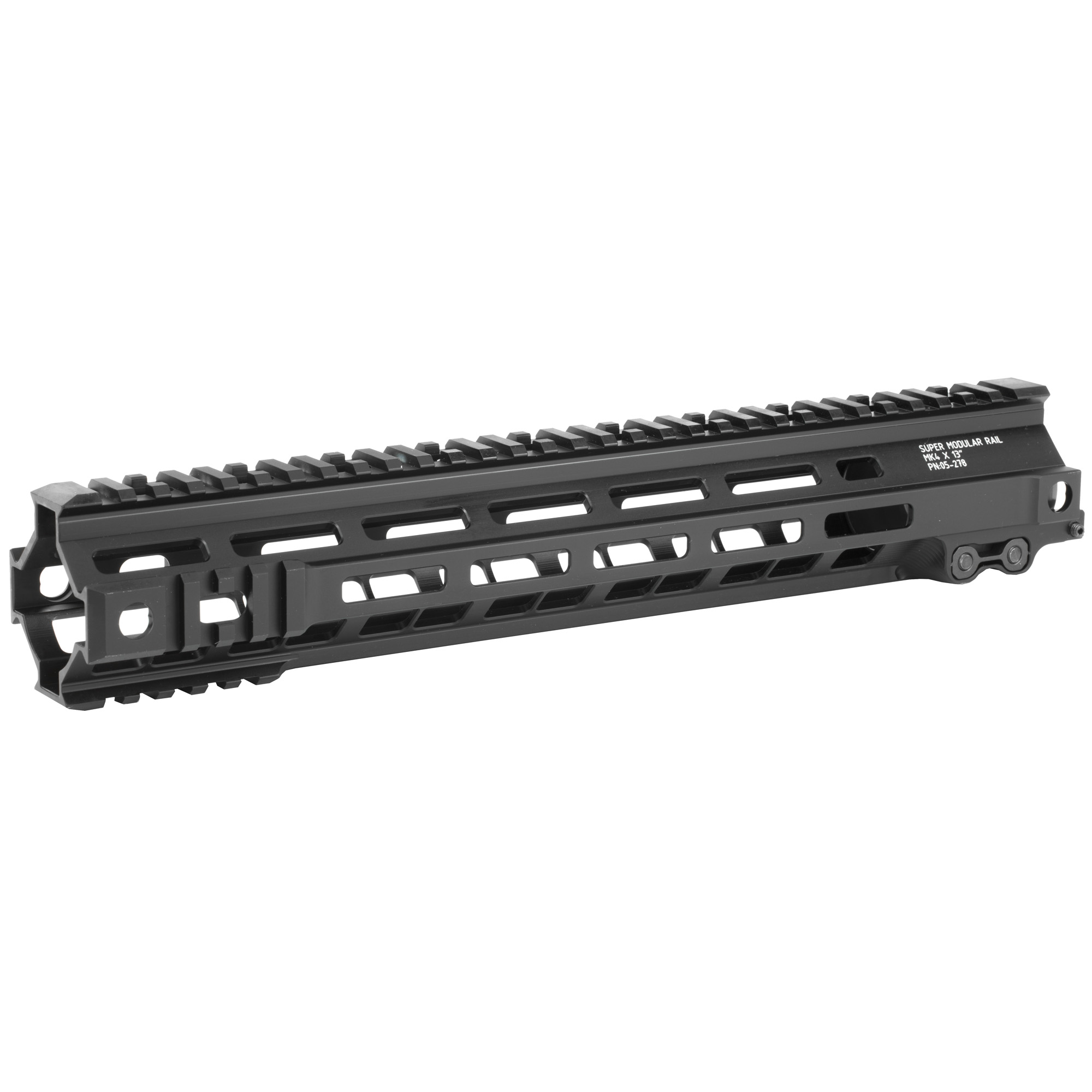 """The Super Modular 13"""" Rail (SMR) MK4 M-LOK(TM) is Geissele's ultra-lightweight M-LOK option. These rails are purpose-built and feature integrated M1913 picatinny rail sections at the fore of the rail in the 3"""" 6 and 9 o'clock positions. Maximum venting for heat dissipation also dramatically reduces the rail's overall weight"""" while maintaining its same strong and rigid platform. Utilizing Magpul's M-LOK technology at the 3"""" 6"""" and 9 o'clock positions"""" as well as the upper 45 quadrants. The SMR MK4 is both versatile and modular"""" allowing the user to tailor their platform to his or her unique needs. The SMR MK4 also features Geissele's proprietary 2.25"""" long barrel nut. This increases the surface contact where the rail interfaces with the receiver and creates a platform that can be trusted to be straight and true the entire length of the free float rail. This increases accuracy and zero repeatability during disassembly and reassembly when performing maintenance."""