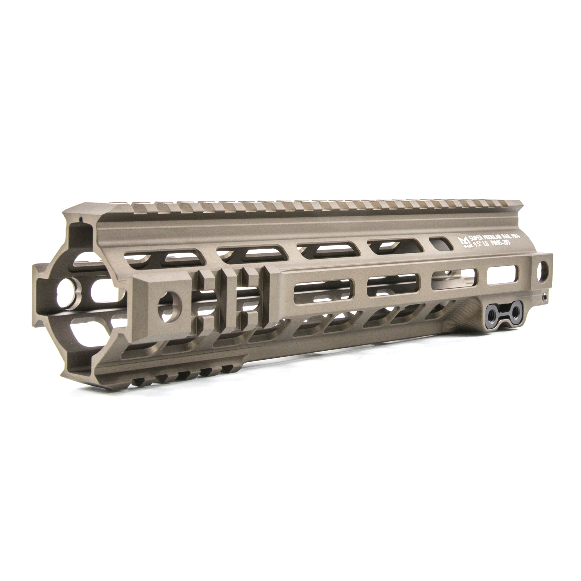 """The Super Modular 9.5"""" Rail (SMR) MK4 M-LOK(TM) is Geissele's ultra-lightweight M-LOK option. These rails are purpose-built and feature integrated M1913 picatinny rail sections at the fore of the rail in the 3"""" 6 and 9 o'clock positions. Maximum venting for heat dissipation also dramatically reduces the rail's overall weight"""" while maintaining its same strong and rigid platform. Utilizing Magpul's M-LOK technology at the 3"""" 6"""" and 9 o'clock positions"""" as well as the upper 45 quadrants. The SMR MK4 is both versatile and modular"""" allowing the user to tailor their platform to his or her unique needs. The SMR MK4 also features Geissele's proprietary 2.25"""" long barrel nut. This increases the surface contact where the rail interfaces with the receiver and creates a platform that can be trusted to be straight and true the entire length of the free float rail. This increases accuracy and zero repeatability during disassembly and reassembly when performing maintenance."""