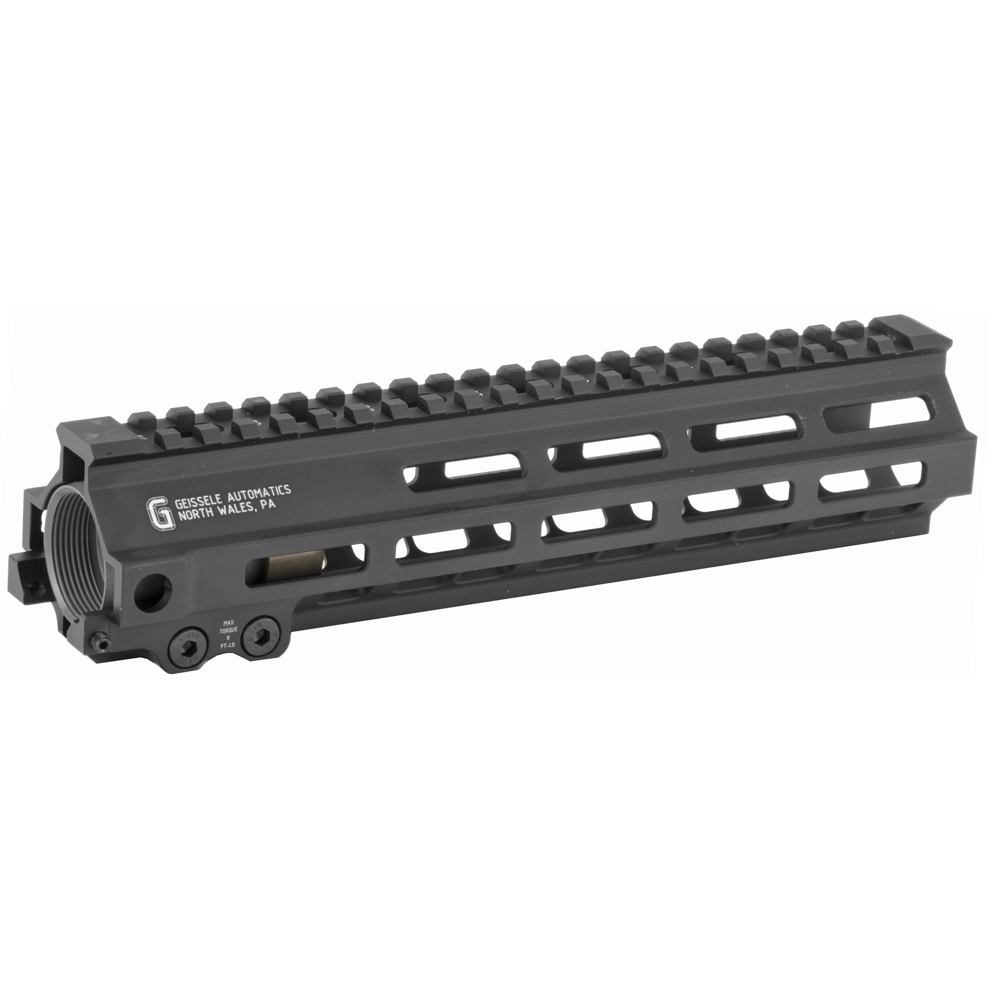 """The Super Modular 9.5"""" Rail (SMR) MK8 M-LOK(TM) is Geissele's ultra-modular model. The SMR MK8 is one of the first rails available to utilize the Magpul M-LOK technology. These rails are designed to give the user full modularity while maintaining a strong and rigid platform. Maximum venting at the lower 45 degree quadrants create maximum heat dissipation and also dramatically reduces the rail's overall weight. Utilizing Magpul's M-LOK technology at the 3"""" 6"""" and 9 o'clock positions"""" as well as the upper 45 degree quadrants. The SMR MK8 is both versatile and modular"""" allowing the user to tailor their platform to his or her unique needs. The SMR MK8 also features Geissele's proprietary 2.25"""" long barrel nut. This increases the surface contact where the rail interfaces with the receiver and creates a platform that can be trusted to be straight and true the entire length of the free float rail. This increases accuracy and zero repeatability during disassembly and reassembly when performing maintenance."""