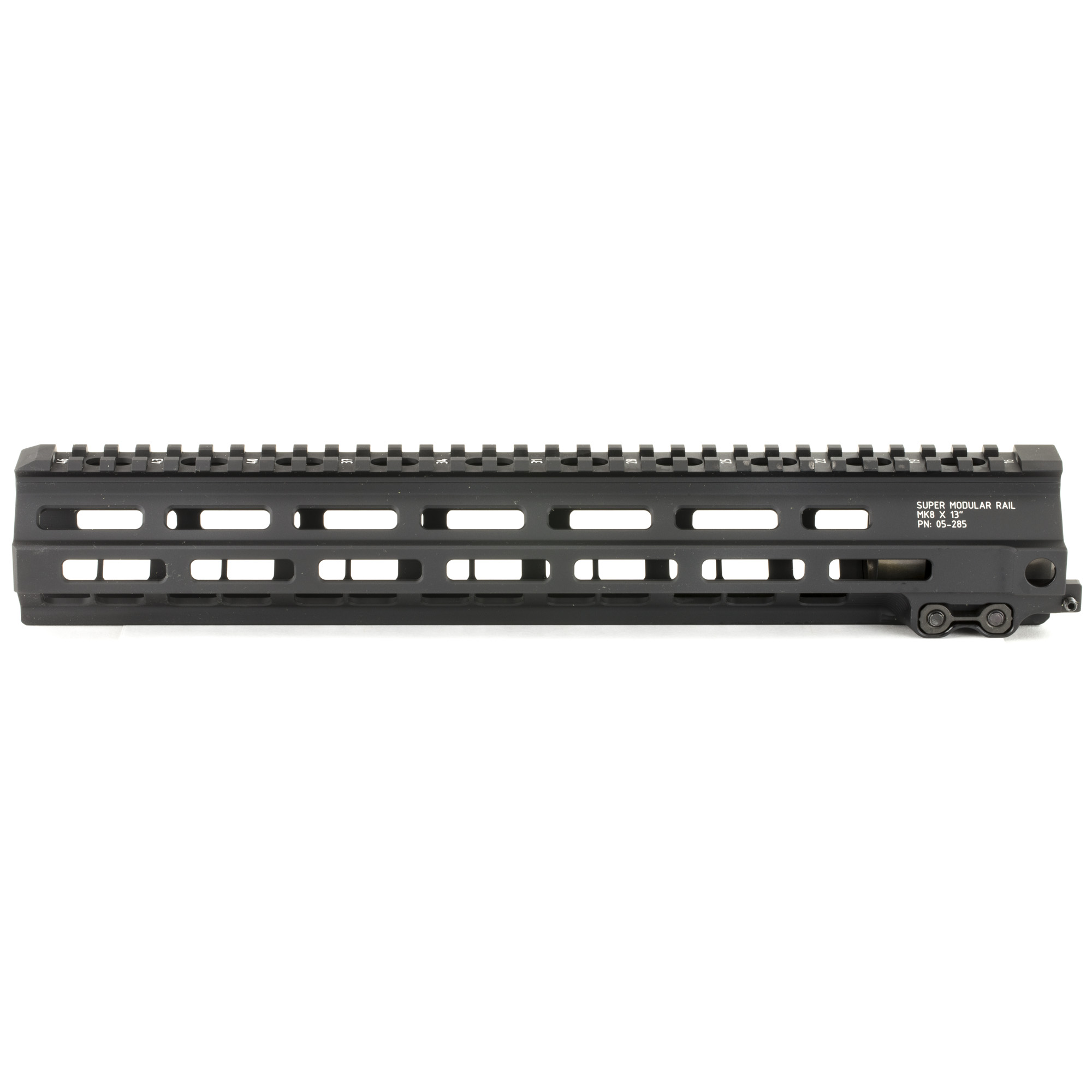 """The Super Modular 13"""" Rail (SMR) MK8 M-LOK(TM) is Geissele's ultra-modular model. The SMR MK8 is one of the first rails available to utilize the Magpul M-LOK technology. These rails are designed to give the user full modularity while maintaining a strong and rigid platform. Maximum venting at the lower 45 degree quadrants create maximum heat dissipation and also dramatically reduces the rail's overall weight. Utilizing Magpul's M-LOK technology at the 3"""" 6"""" and 9 o'clock positions"""" as well as the upper 45 degree quadrants. The SMR MK8 is both versatile and modular"""" allowing the user to tailor their platform to his or her unique needs. The SMR MK8 also features Geissele's proprietary 2.25"""" long barrel nut. This increases the surface contact where the rail interfaces with the receiver and creates a platform that can be trusted to be straight and true the entire length of the free float rail. This increases accuracy and zero repeatability during disassembly and reassembly when performing maintenance."""