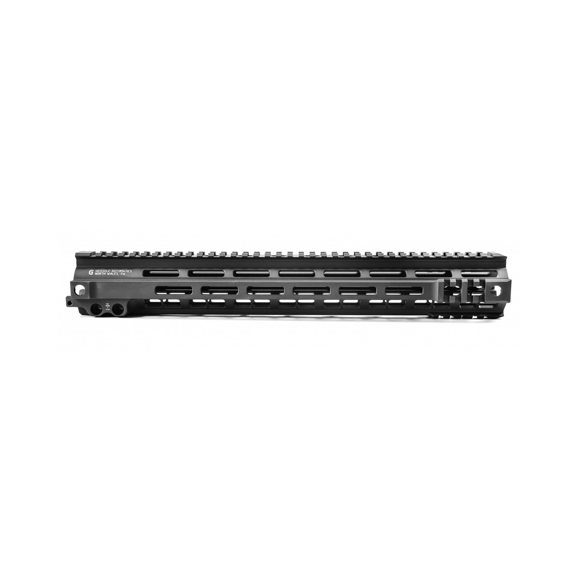 """The Super Modular 15"""" Rail (SMR) MK4 M-LOK is Geissele's ultra-lightweight M-LOK option. These rails are purpose-built and feature integrated M1913 picatinny rail sections at the fore of the rail in the 3"""" 6 and 9 o'clock positions. Maximum venting for heat dissipation also dramatically reduces the rail's overall weight"""" while maintaining its same strong and rigid platform. Utilizing Magpul's M-LOK technology at the 3"""" 6"""" and 9 o'clock positions"""" as well as the upper 45 quadrants. The SMR MK4 is both versatile and modular"""" allowing the user to tailor their platform to his or her unique needs. The SMR MK4 also features Geissele's proprietary 2.25"""" long barrel nut. This increases the surface contact where the rail interfaces with the receiver and creates a platform that can be trusted to be straight and true the entire length of the free float rail. This increases accuracy and zero repeatability during disassembly and reassembly when performing maintenance."""