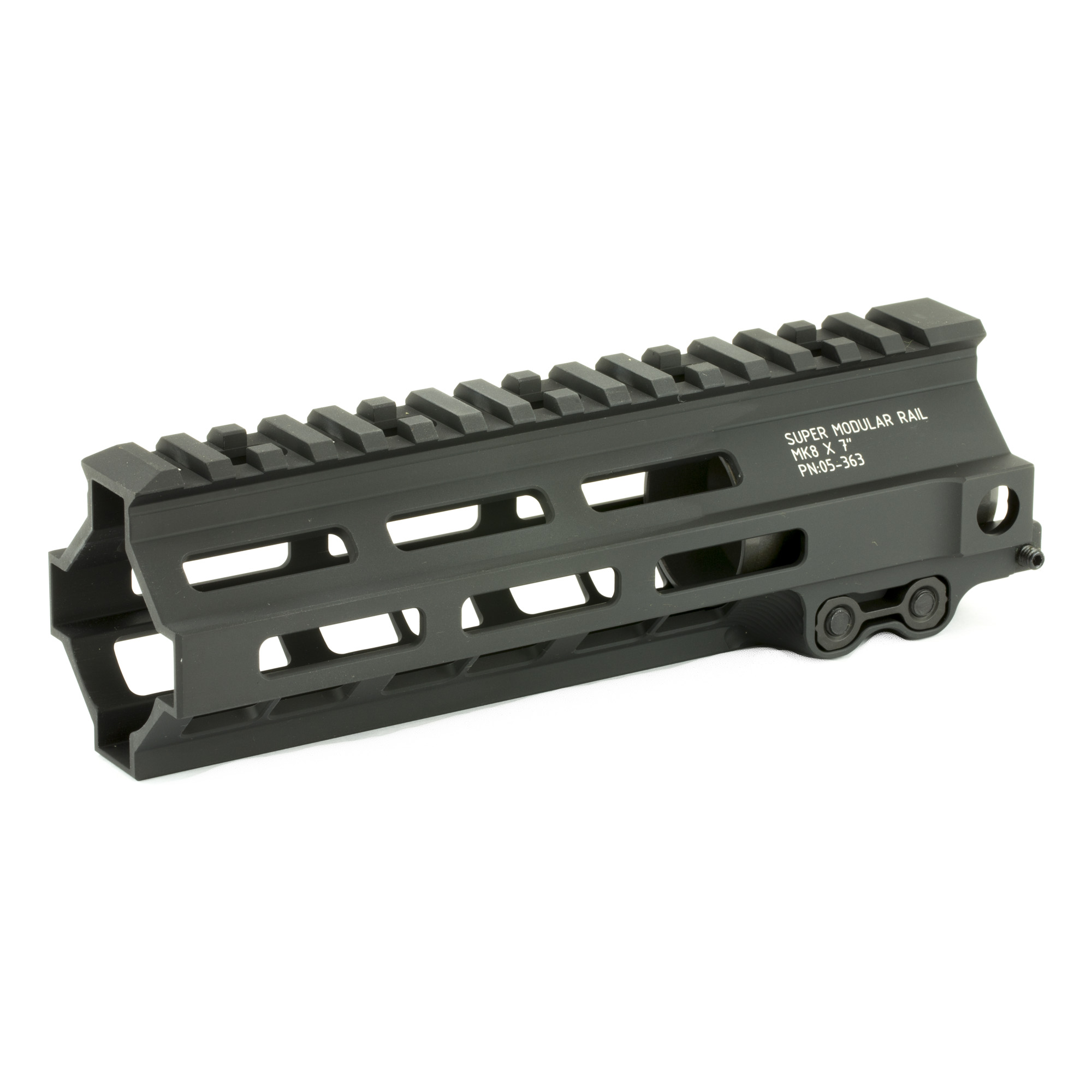 """The Super Modular 7"""" Rail (SMR) MK8 M-LOK(TM) is Geissele's ultra-modular model. The SMR MK8 is one of the first rails available to utilize the Magpul M-LOK technology. These rails are designed to give the user full modularity while maintaining a strong and rigid platform. Maximum venting at the lower 45 degree quadrants create maximum heat dissipation and also dramatically reduces the rail's overall weight. Utilizing Magpul's M-LOK technology at the 3"""" 6"""" and 9 o'clock positions"""" as well as the upper 45 degree quadrants. The SMR MK8 is both versatile and modular"""" allowing the user to tailor their platform to his or her unique needs. The SMR MK8 also features Geissele's proprietary 2.25"""" long barrel nut. This increases the surface contact where the rail interfaces with the receiver and creates a platform that can be trusted to be straight and true the entire length of the free float rail. This increases accuracy and zero repeatability during disassembly and reassembly when performing maintenance."""