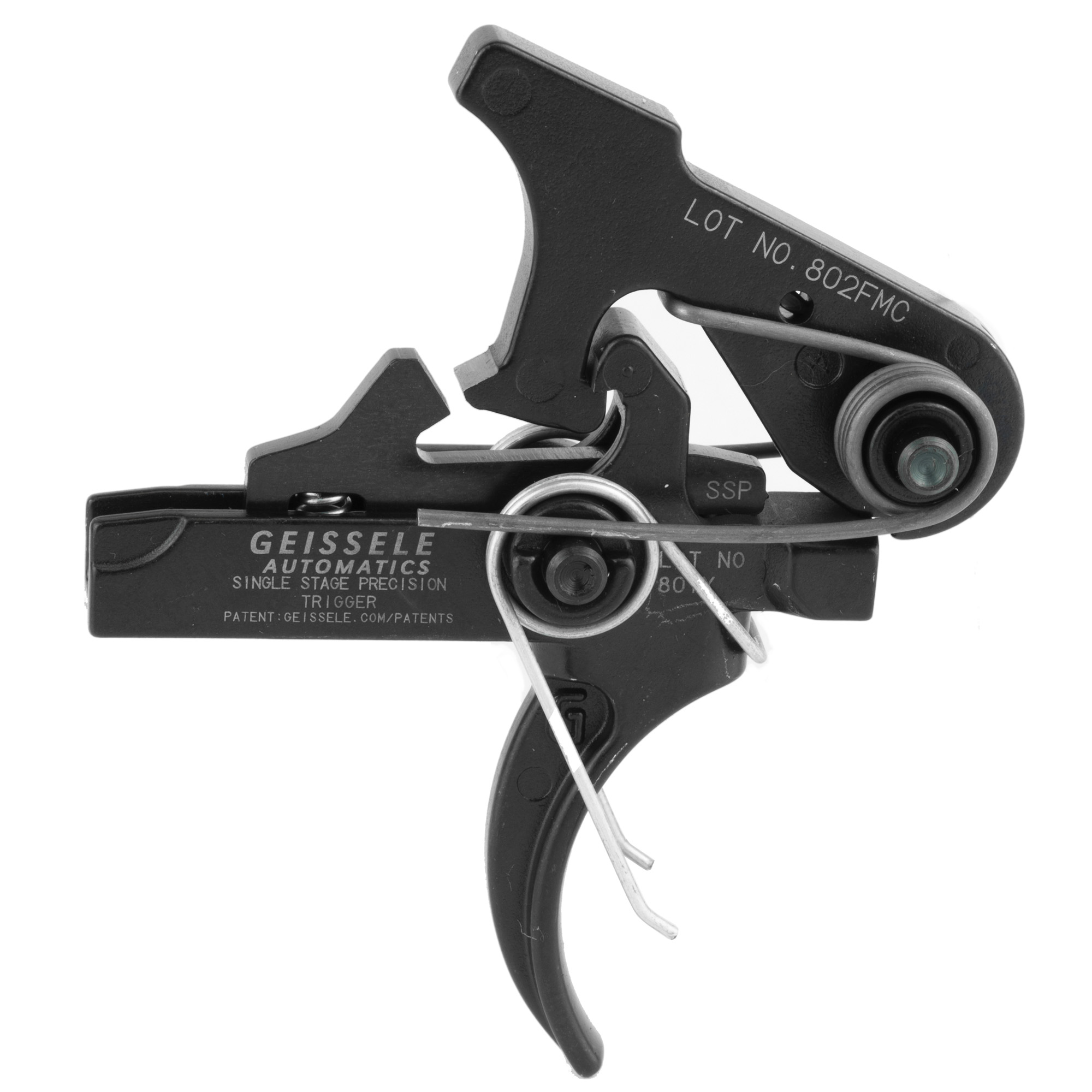 """The Single-Stage Precision (SSP) is Geissele Automatics' first true single-stage trigger for the AR Platform. This drop-in trigger has no take up and a super clean break. The reset is short yet still distinct"""" giving excellent feedback to the shooter during target engagement. Combining these two capabilities provides the shooter with the confidence necessary when precision and accuracy are essential for the task at hand. The SSP features superior materials and the most modern manufacturing techniques. The SSP trigger is made from S7 Tool Steel and precision machined from the latest wire EDM technology. All parts are finished in durable corrosion resistant black oxide. The Geissele SSP is a precision trigger"""" engineered for maximum reliability and repeatability while engaging targets at long distance"""" whether it's being used during duty"""" hunting or target shooting."""