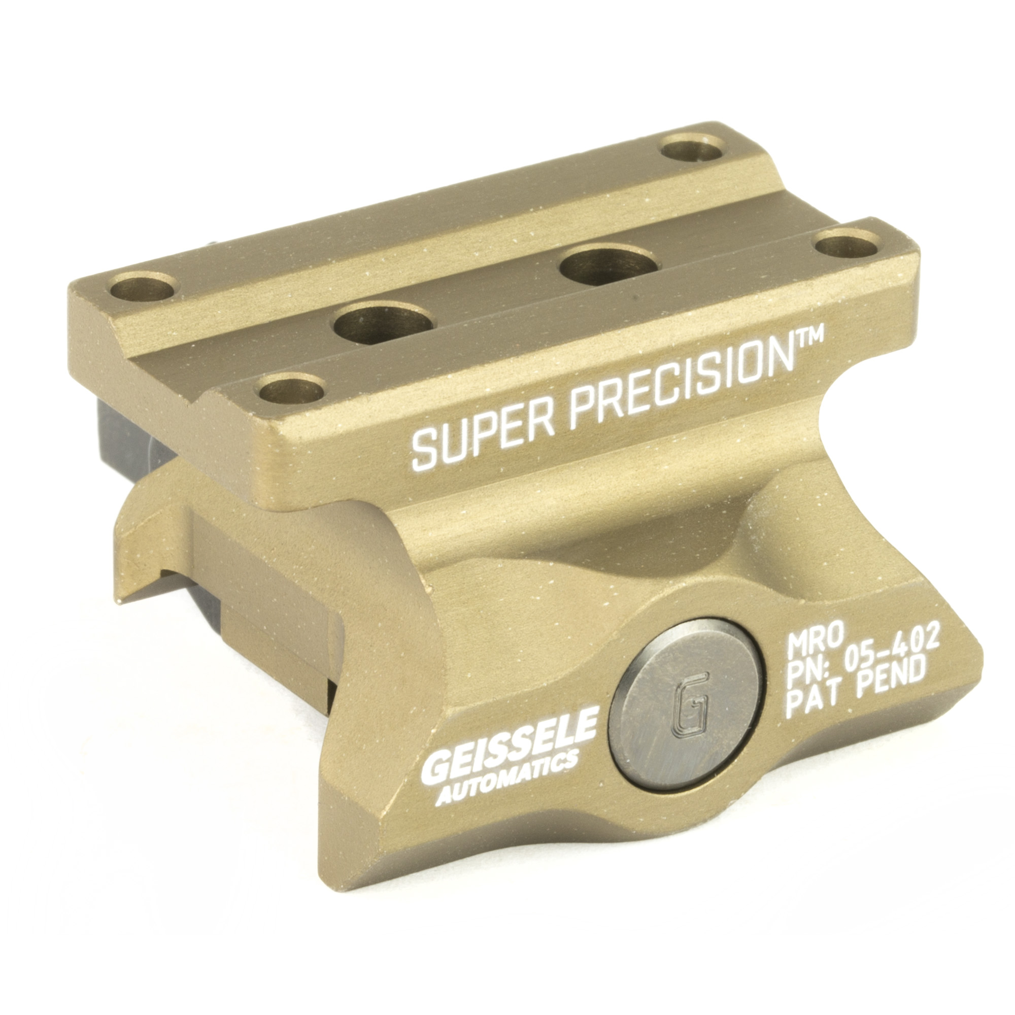 """The Super Precision MRO Series was developed specifically to work with the Trijicon MRO and like mounted red dot optics. These mounts are precision machined from a single piece of 7075-T6 high strength aluminum. Utilizing Geissele's update of the classic nut and bolt method"""" this mount will attach your red dot to your weapon with 1""""400 pounds of clamping force"""" and features 3 shear lugs for maximum rigidity and return to zero."""
