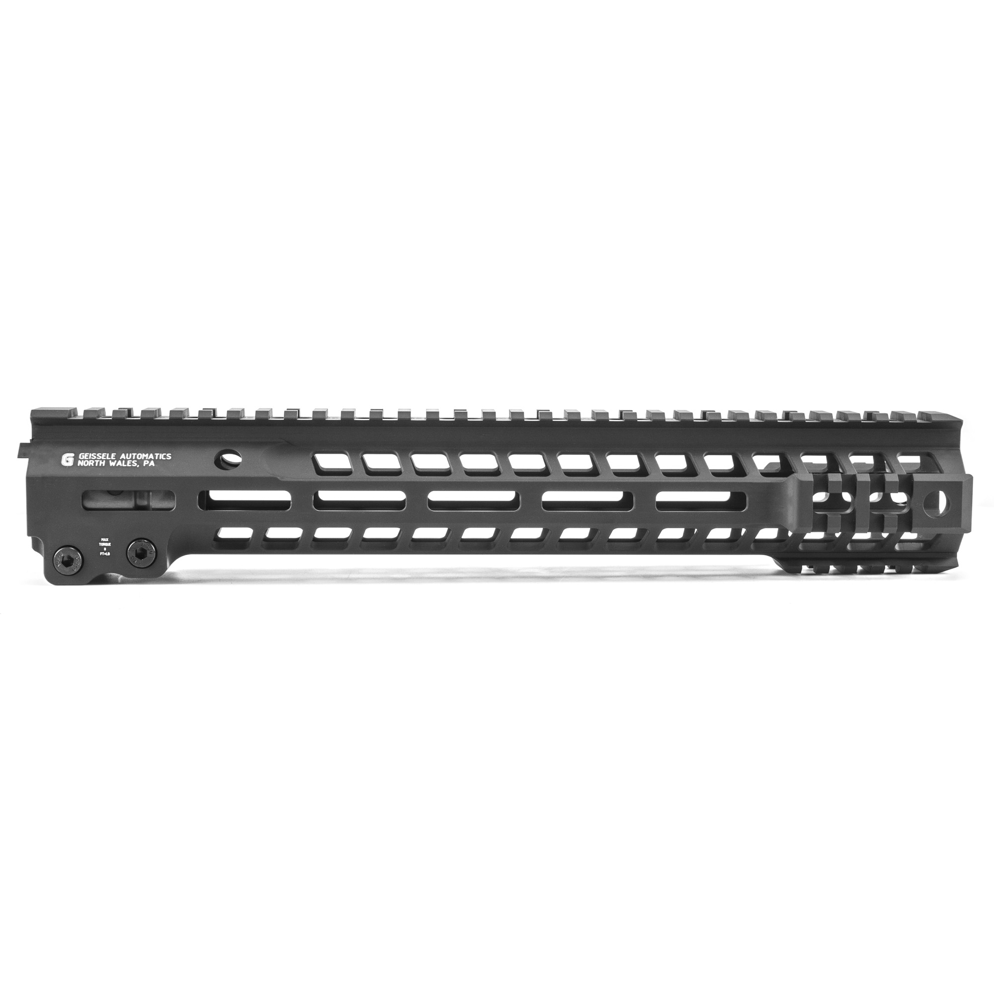 """Geissele's Automatics Super Modular MK13 M-Lok AR-15 13"""" Free Float Hand Guard"""" is the latest entry to the Geissele line up of Super Modular Rails The new handguard design offers a smaller diameter and overall height to create a slimmer package. Included with the MK13 Super Modular Rail is an updated version of the proven Geissele Barrel Nut design"""" not only providing ease of installation but superior rigidity. The long surface contact of the 2.25"""" barrel nut interfaces with the receiver creating a platform that can be trusted to be straight and true the entire length of the free float rail. The MK13 is precision machined using 6061-T6 aluminum due to its strength"""" rigidity and lightweight properties. Utilizing Magpul's M-LOK technology in the 3"""" 6"""" and 9 o'clock positions and machined-in Picatinny rails at the end allow the end user to customize their rifle and securely mount lights"""" bipods and other firearm accessories. The Geissele MK13 Super Modular rail is Type 3 Hardcoat Anodized. This product is bundled with a low-profile Geissele Super Gas Block."""