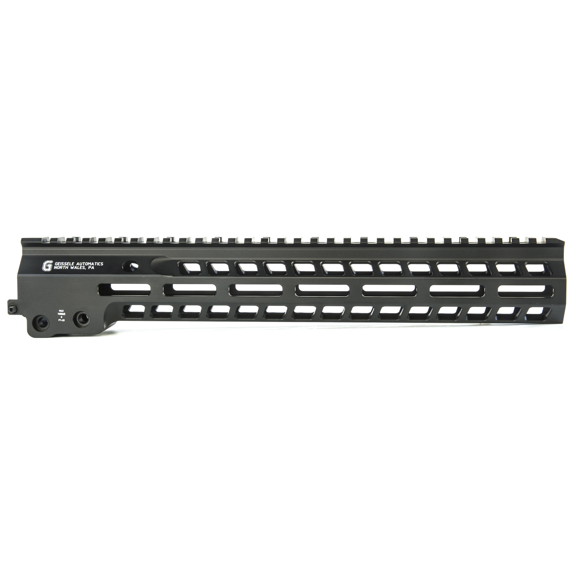 """Geissele's Super Modular 13"""" MK14 M-Lok Rail is the latest entry to the Geissele line up of Super Modular Rails. The new handguard design offers a smaller diameter and overall height to create a slimmer package. Included with the MK14 Super Modular Rail is an updated version of the proven Geissele Barrel Nut design"""" not only providing ease of installation but superior rigidity. The long surface contact of the 2.25"""" barrel nut interfaces with the receiver creating a platform that can be trusted to be straight and true the entire length of the free float rail. The MK14 is 3d precision machined using 6061-T6 Aluminum due to its strong"""" rigid and lightweight properties. Utilizing Magpul's M-LOK technology in the 3"""" 6"""" and 9 o'clock positions allow the end user full customization and modularity of their rifle to securely mount lights"""" bipods and other firearm accessories. The Geissele MK14 Super Modular rail is Type 3 Hardcoat Anodized. This product is bundled with a low-profile Geissele Super Gas Block."""