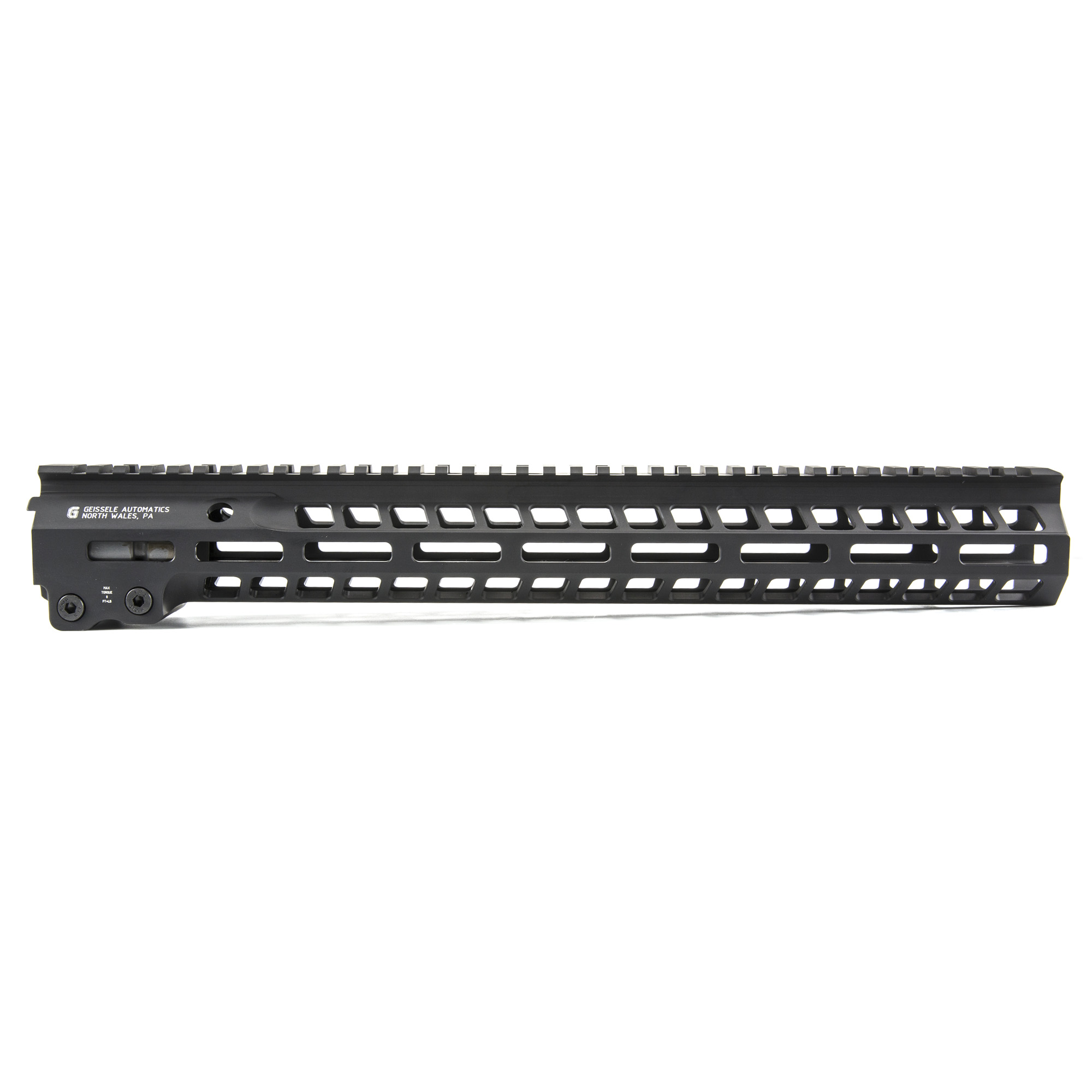"""Geissele's Automatics MK14 Super Modular 15"""" M-Lok Rail"""" is the latest entry to the Geissele line up of Super Modular Rails. The new handguard design offers a smaller diameter and overall height to create a slimmer package. Included with the MK14 Super Modular Rail is an updated version of the proven Geissele Barrel Nut design"""" not only providing ease of installation but superior rigidity. The long surface contact of the 2.25"""" barrel nut interfaces with the receiver creating a platform that can be trusted to be straight and true the entire length of the free float rail. The MK14 is 3d precision machined using 6061-T6 Aluminum due to its strong"""" rigid and lightweight properties. Utilizing Magpul's M-LOK technology in the 3"""" 6"""" and 9 o'clock positions allow the end user full customization and modularity of their rifle to securely mount lights"""" bipods and other firearm accessories. The Geissele MK14 Super Modular rail is Type 3 Hardcoat Anodized. This product is bundled with a low-profile Geissele Super Gas Block."""
