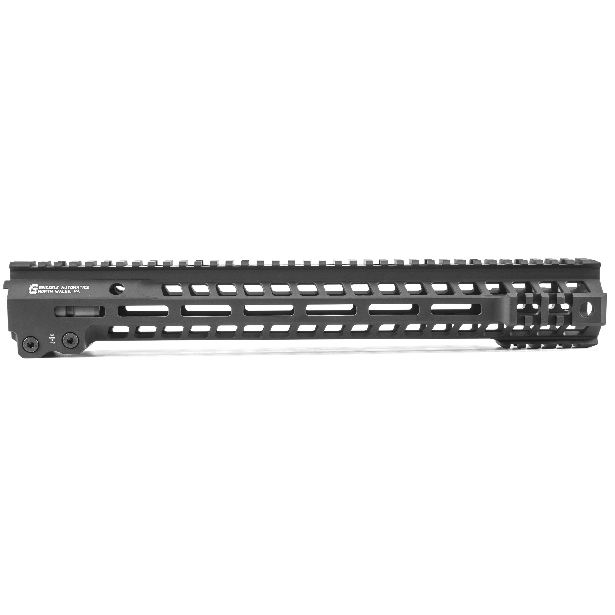 """Geissele's Super Modular 15"""" MK13 M-Lok Rail"""" is the latest entry to the Geissele line up of Super Modular Rails. The new handguard design offers a smaller diameter and overall height to create a slimmer package. Included with the MK13 Super Modular Rail is an updated version of the proven Geissele Barrel Nut design"""" not only providing ease of installation but superior rigidity. The long surface contact of the 2.25"""" barrel nut interfaces with the receiver creating a platform that can be trusted to be straight and true the entire length of the free float rail. The MK13 is precision machined using 6061-T6 aluminum due to its strength"""" rigidity and lightweight properties. Utilizing Magpul's M-LOK technology in the 3"""" 6"""" and 9 o'clock positions and machined-in Picatinny rails at the end allow the end user to customize their rifle and securely mount lights"""" bipods and other firearm accessories. The Geissele MK13 Super Modular rail is Type 3 Hardcoat Anodized. This product is bundled with a low-profile Geissele Super Gas Block."""