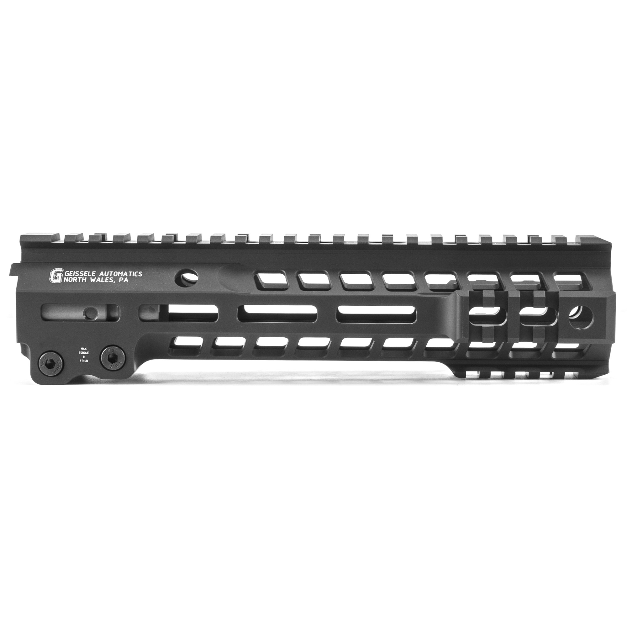 """Geissele's Super Modular 9.5"""" MK13 M-Lok Rail"""" is the latest entry to the Geissele line up of Super Modular Rails. The new handguard design offers a smaller diameter and overall height to create a slimmer package. Included with the MK13 Super Modular Rail is an updated version of the proven Geissele Barrel Nut design"""" not only providing ease of installation but superior rigidity. The long surface contact of the 2.25"""" barrel nut interfaces with the receiver creating a platform that can be trusted to be straight and true the entire length of the free float rail. The MK13 is precision machined using 6061-T6 aluminum due to its strength"""" rigidity and lightweight properties. Utilizing Magpul's M-LOK technology in the 3"""" 6"""" and 9 o'clock positions and machined-in Picatinny rails at the end allow the end user to customize their rifle and securely mount lights"""" bipods and other firearm accessories. The Geissele MK13 Super Modular rail is Type 3 Hardcoat Anodized. This product is bundled with a low-profile Geissele Super Gas Block."""