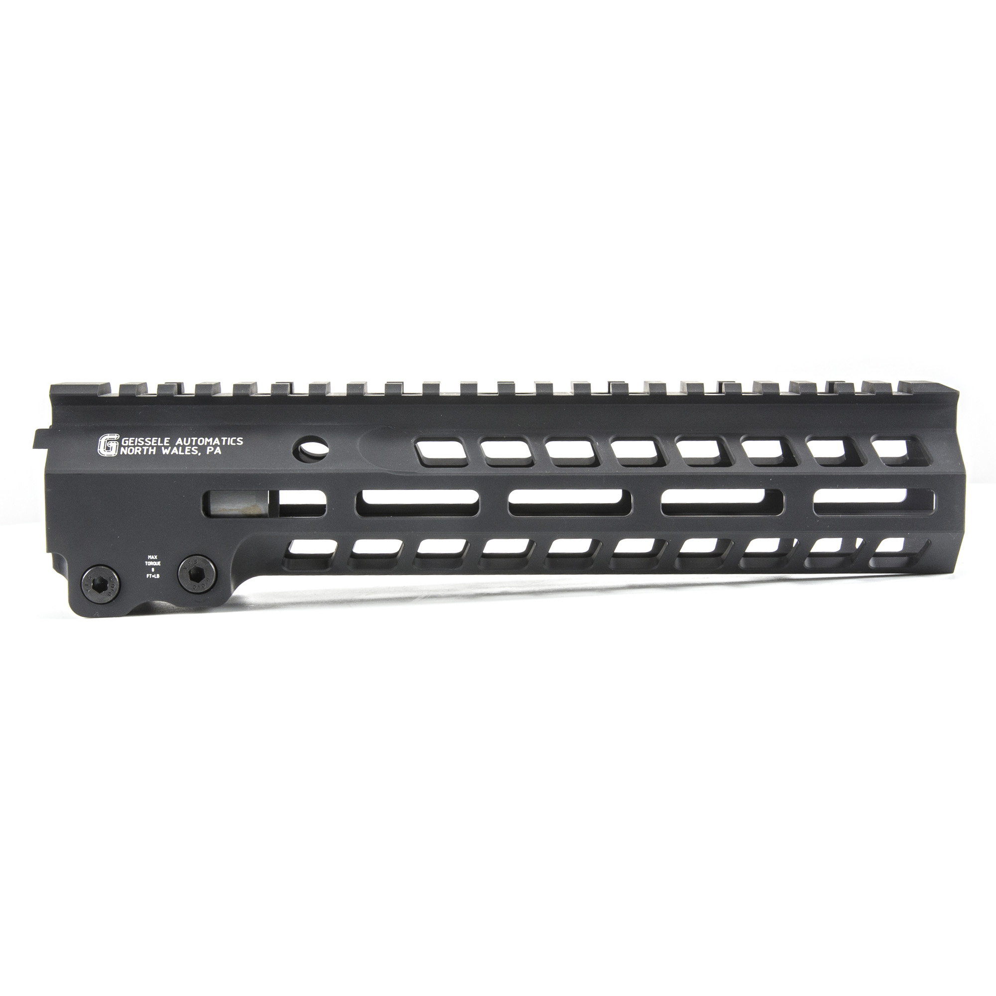 """Geissele's Super Modular 9.5"""" MK14 M-Lok Rail"""" is the latest entry to the Geissele line up of Super Modular Rails. The new handguard design offers a smaller diameter and overall height to create a slimmer package. Included with the MK14 Super Modular Rail is an updated version of the proven Geissele Barrel Nut design"""" not only providing ease of installation but superior rigidity. The long surface contact of the 2.25"""" barrel nut interfaces with the receiver creating a platform that can be trusted to be straight and true the entire length of the free float rail. The MK14 is 3d precision machined using 6061-T6 Aluminum due to its strong"""" rigid and lightweight properties. Utilizing Magpul's M-LOK technology in the 3"""" 6"""" and 9 o'clock positions allow the end user full customization and modularity of their rifle to securely mount lights"""" bipods and other firearm accessories. The Geissele MK14 Super Modular rail is Type 3 Hardcoat Anodized. This product is bundled with a low-profile Geissele Super Gas Block."""