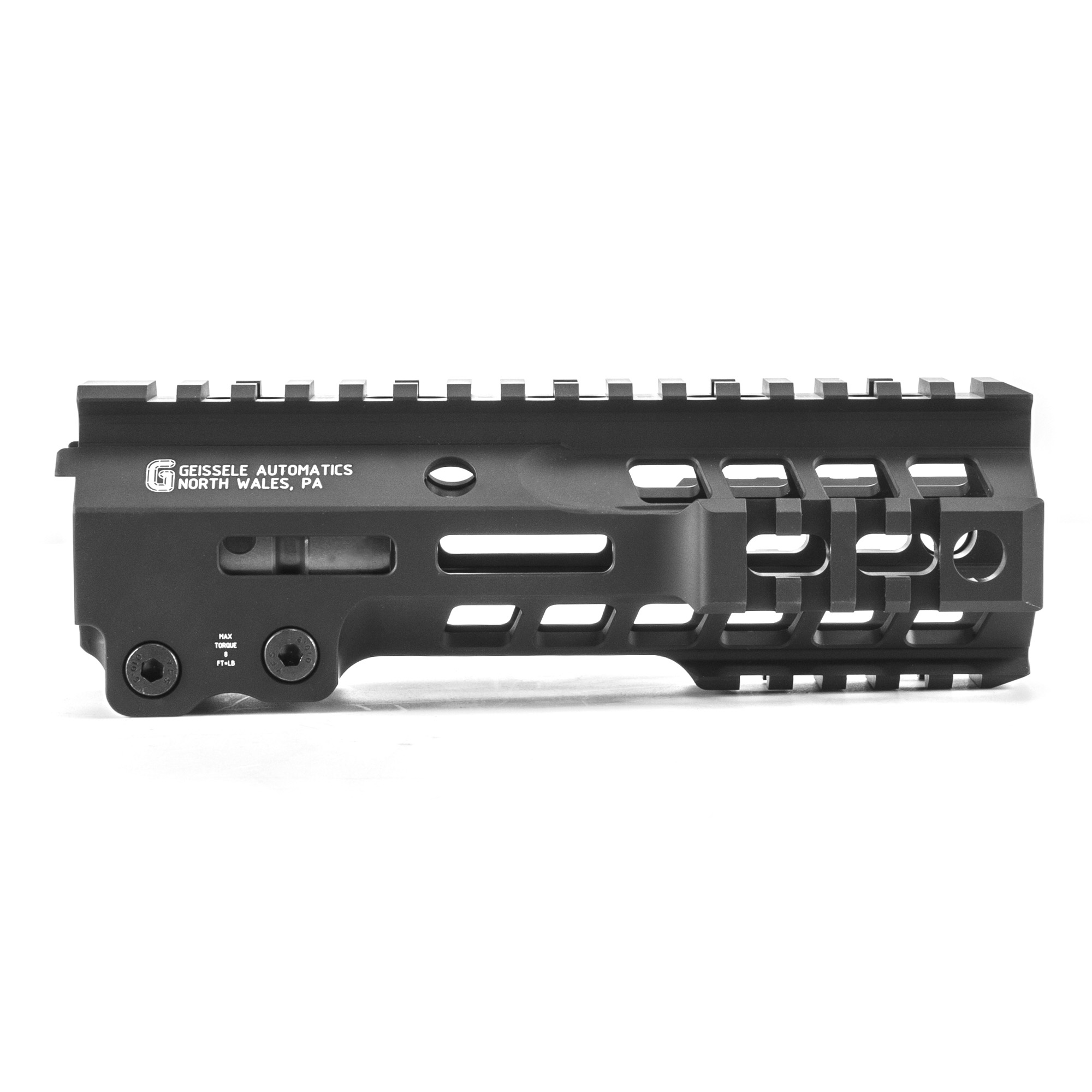 """Geissele's Super Modular 7"""" MK13 M-Lok Rail is the latest entry to the Geissele line up of Super Modular Rails. The new handguard design offers a smaller diameter and overall height to create a slimmer package. Included with the MK13 Super Modular Rail is an updated version of the proven Geissele Barrel Nut design"""" not only providing ease of installation but superior rigidity. The long surface contact of the 2.25"""" barrel nut interfaces with the receiver creating a platform that can be trusted to be straight and true the entire length of the free float rail. The MK13 is precision machined using 6061-T6 aluminum due to its strength"""" rigidity and lightweight properties. Utilizing Magpul's M-LOK technology in the 3"""" 6"""" and 9 o'clock positions and machined-in Picatinny rails at the end allow the end user to customize their rifle and securely mount lights"""" bipods and other firearm accessories. The Geissele MK13 Super Modular rail is Type 3 Hardcoat Anodized. This product is bundled with a low-profile Geissele Super Gas Block."""