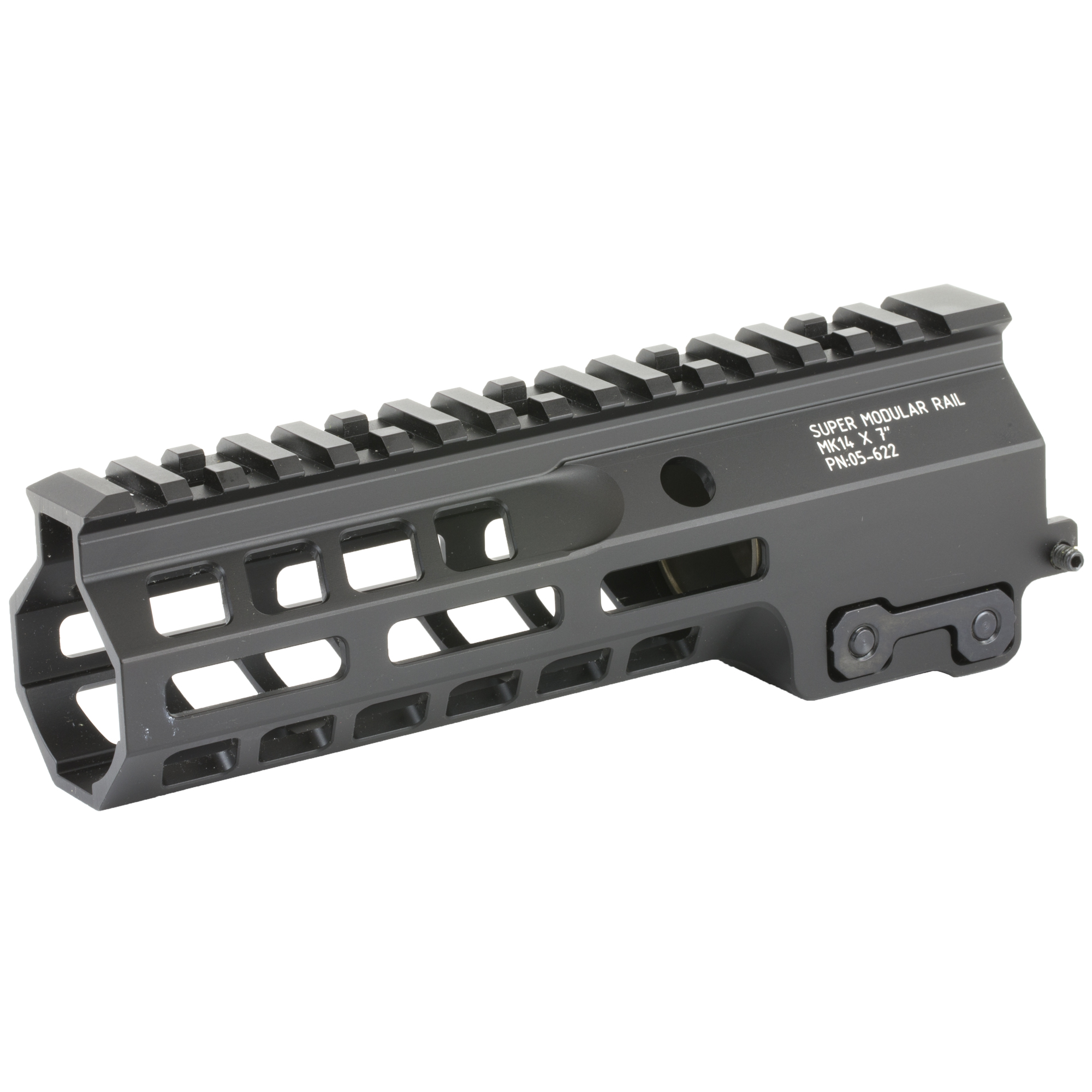 """Geissele's Super Modular 7"""" MK14 M-Lok Rail is the latest entry to the Geissele line up of Super Modular Rails. The new handguard design offers a smaller diameter and overall height to create a slimmer package. Included with the MK14 Super Modular Rail is an updated version of the proven Geissele Barrel Nut design"""" not only providing ease of installation but superior rigidity. The long surface contact of the 2.25"""" barrel nut interfaces with the receiver creating a platform that can be trusted to be straight and true the entire length of the free float rail. The MK14 is 3d precision machined using 6061-T6 Aluminum due to its strong"""" rigid and lightweight properties. Utilizing Magpul's M-LOK technology in the 3"""" 6"""" and 9 o'clock positions allow the end user full customization and modularity of their rifle to securely mount lights"""" bipods and other firearm accessories. The Geissele MK14 Super Modular rail is Type 3 Hardcoat Anodized. This product is bundled with a low-profile Geissele Super Gas Block."""