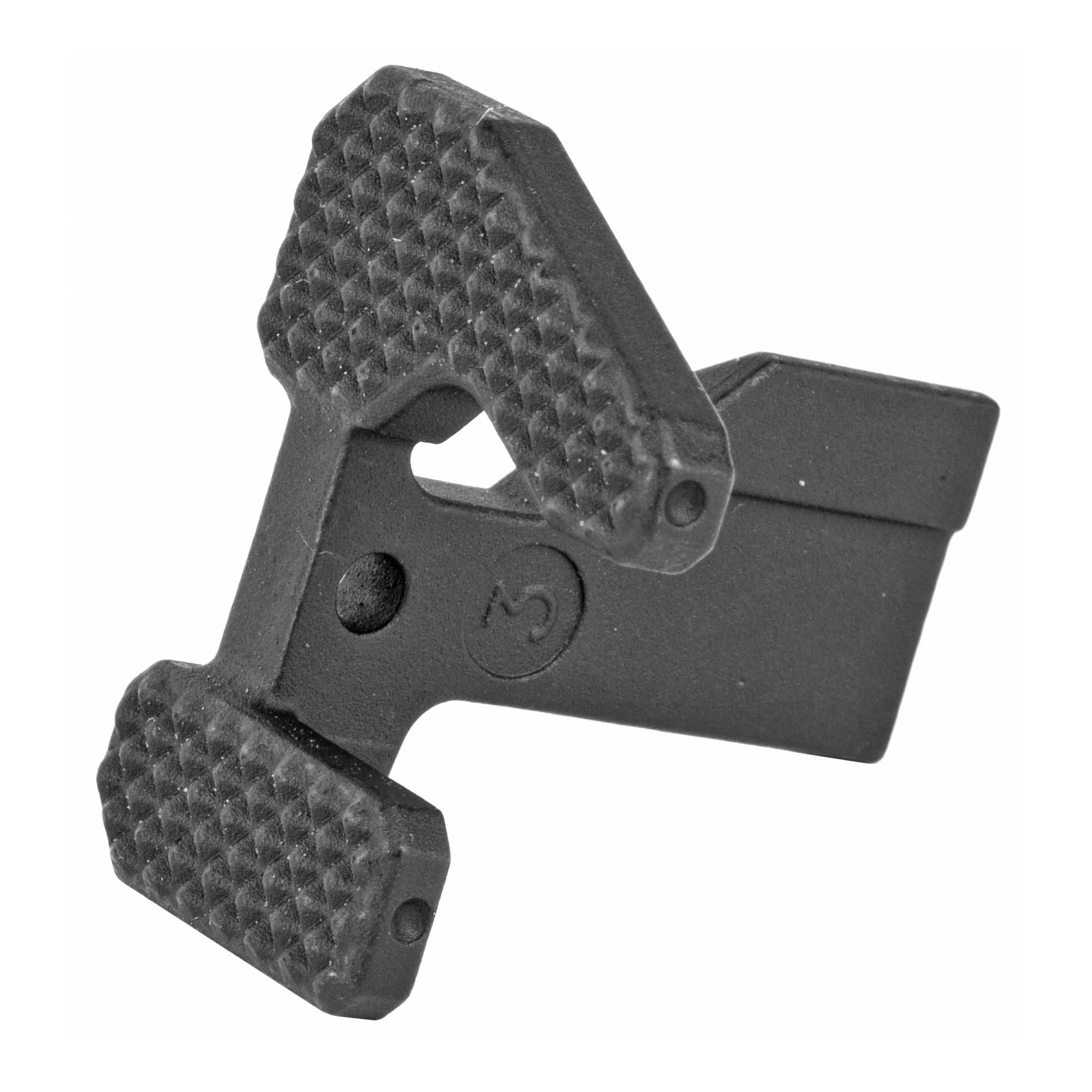 """The Geissele Maritime Bolt Catch is designed with the warfighter in mind and will work with any lower receiver designed to accept a mil-spec M16/M4 Carbine bolt catch. The increased surface area promotes ease of function when locking back the bolt or releasing the bolt after a magazine change. In addition"""" the extended controls add an increased functionality for left handed shooters who no longer have to break their grip to manipulate the bolt catch. Left handed shooters can easily reach the controls using the index finger of their left hand making magazine changes and locking the bolt back much more fast and efficient. Aggressive checkering covers the surface of the levers giving the Geissele Maritime Bolt Catch a textured surface that enables positive feedback to the shooters hand when being used with gloves or at night. Manufactured from properly heat treated 8620 steel and manganese phosphate coated"""" the Geissele Maritime Bolt Catch is intended to serve as an enhanced mil-spec replacement and assist in giving our warfighters overmatch capability with the M16/M4 carbine platform."""