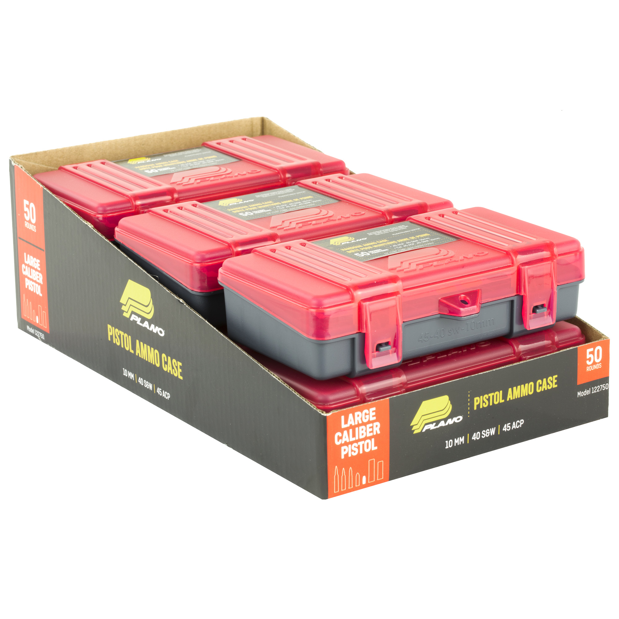 """Securely store handgun ammunition with this hard plastic case. This durable storage box features dependable closures and deep individual slots to keep ammo organized"""" protected and accessible."""