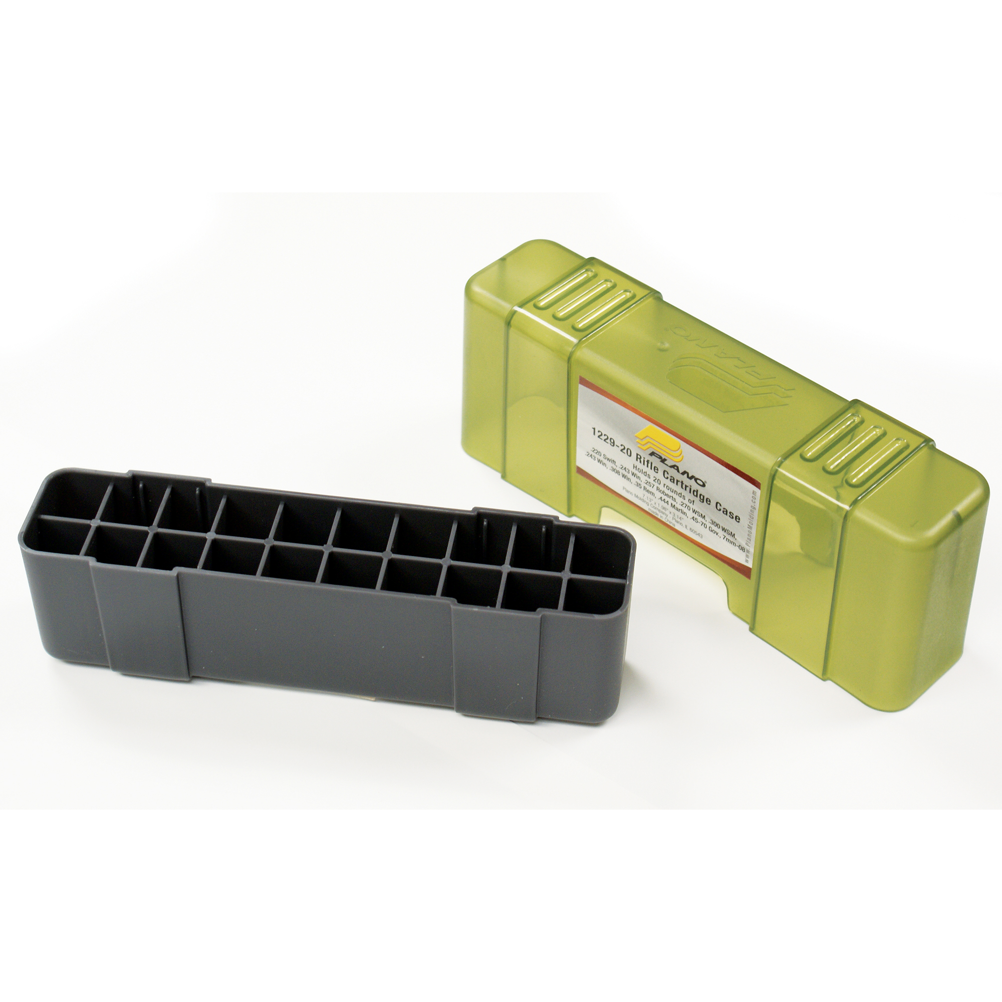 """Securely store up to 20 rounds of rifle ammunition with this hard plastic case. This durable storage box features dependable closure and deep individual slots to keep ammo organized"""" protected and accessible."""