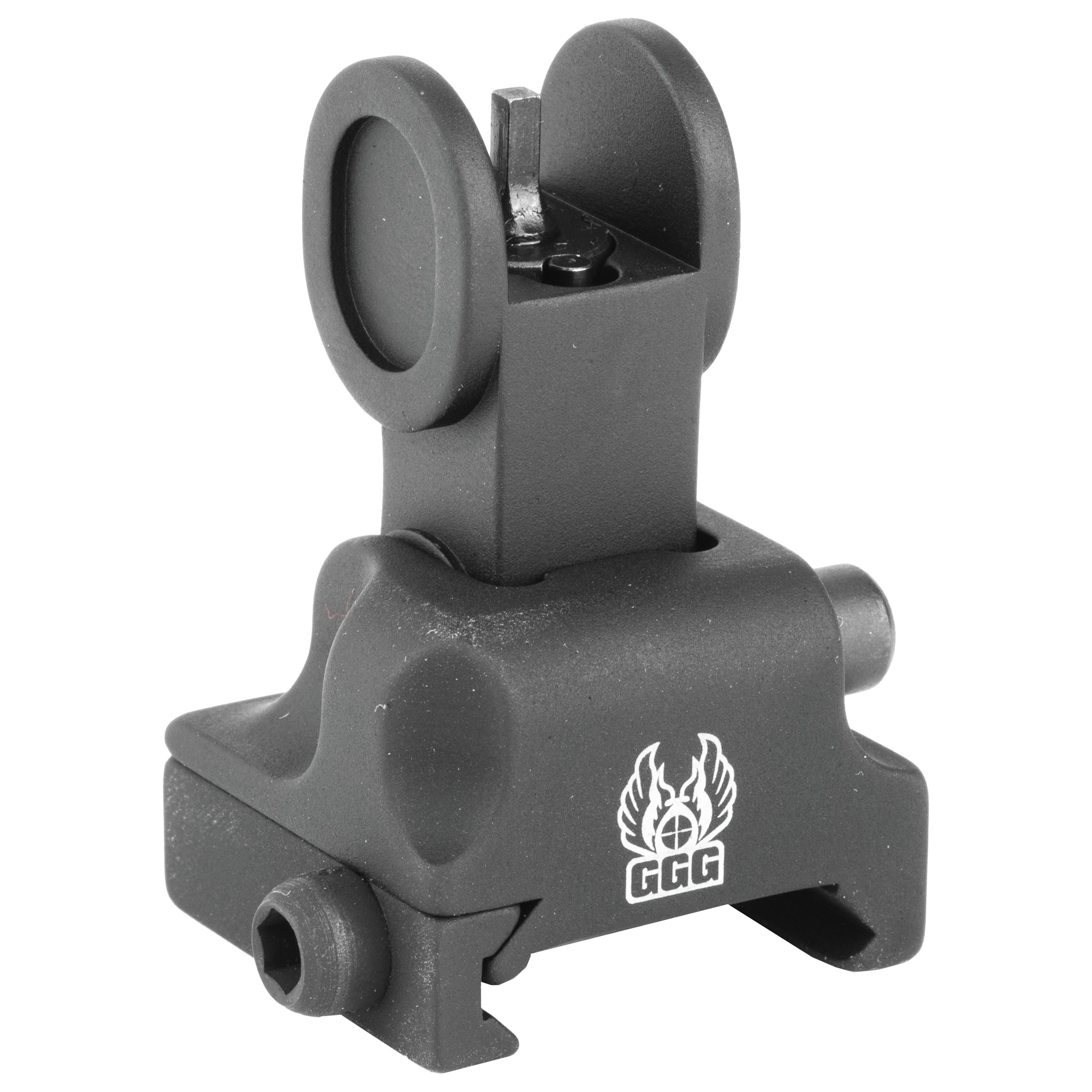 """Although the GG&G Flip Up Front Sight For Tactical Forearms was specifically designed to provide the correct sight height when mounted on a tactical forearm"""" this sight can also be installed on gas blocks that are at the same height as the upper receiver. It is manually operated versus spring-actuated and provides a smaller overall profile."""
