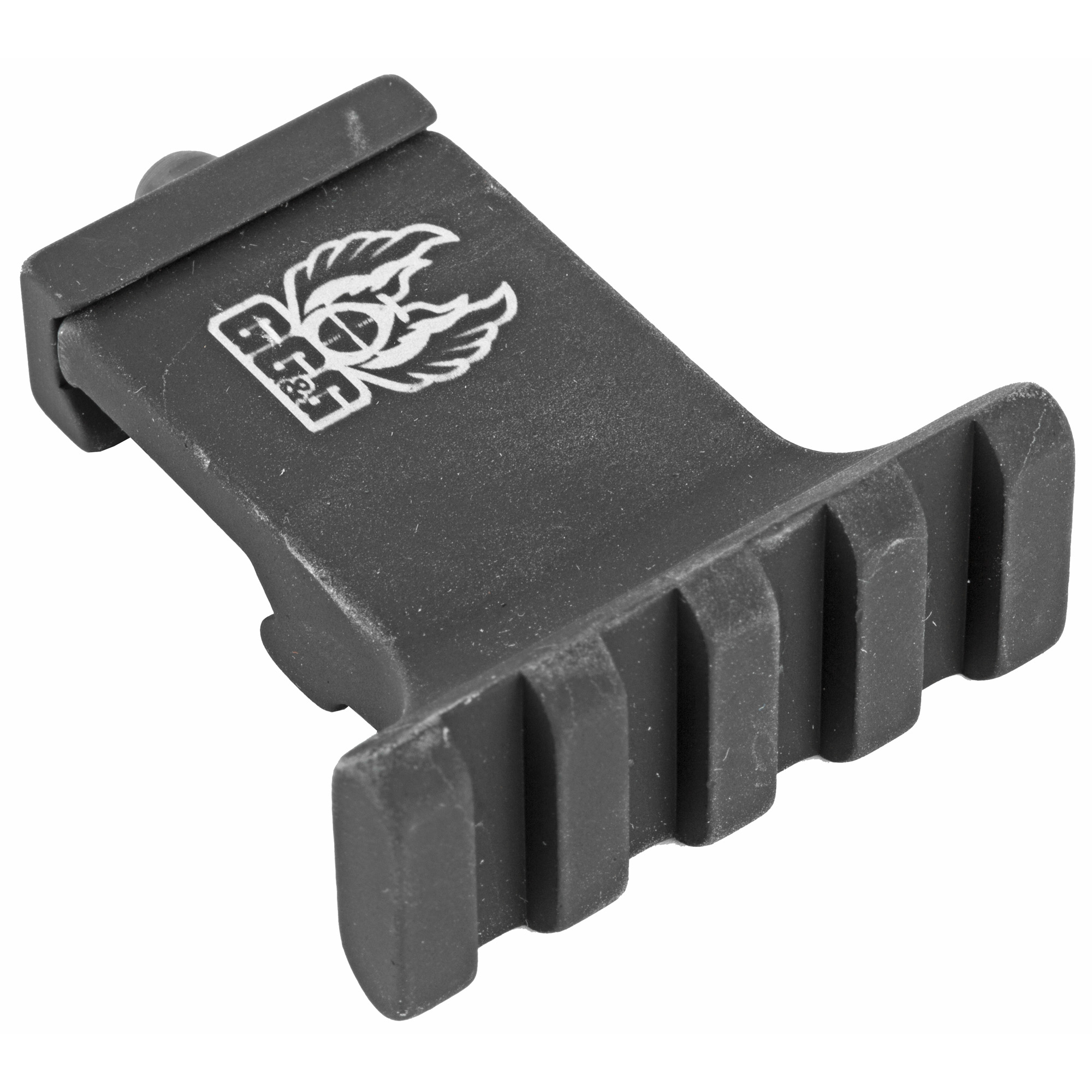 """GG&G's AR-15 Offset Tactical Flashlight Mount places the tactical flashlight"""" offset to the right or left of the weapon's forearm at about 5 o'clock or 7 o'clock"""" respectively. This permits the operator to manipulate with the thumb"""" the illuminator's rocker switch laser button or rear pressure button of other tactical flashlights"""" while the support hand remains solidly on the vertical foregrip. This tactical light mount comes complete with both the Glock style and MIL-STD-1913 Picatinny rails. The Glock style rail can be easily removed and a short section of MIL-STD-1913 rail installed for attaching a Surefire or other small flashlight by means of a standard ring. The mounting rails are fully interchangeable. It is a lightweight accessory at only 2.7 ounces."""