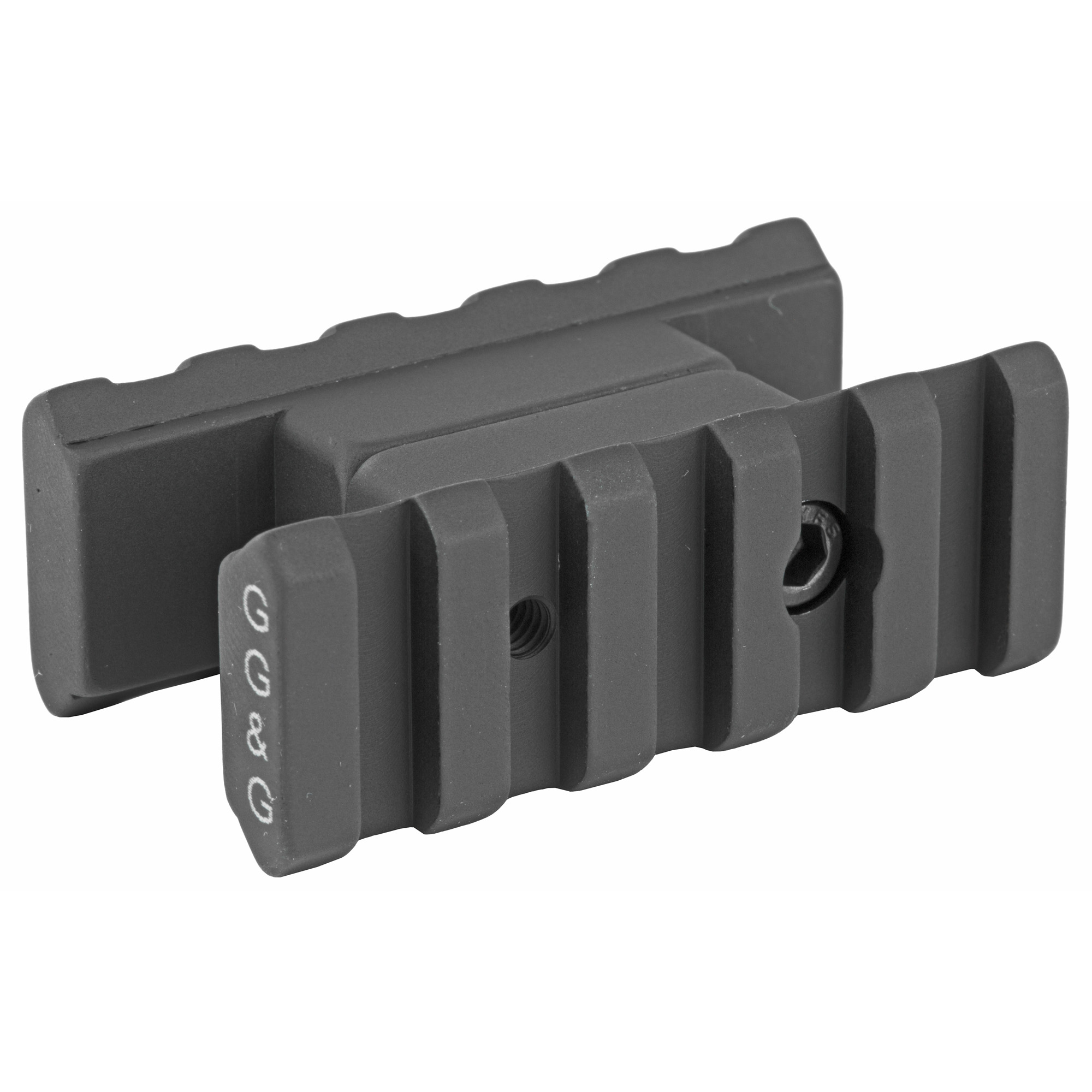 """GG&G's """"Dually"""" AR-15 Dual Rail Front Sight Accessory Mount provides the end user with a lightweight"""" sturdy"""" versatile and inexpensive mounting system designed to accommodate dual flashlight set ups"""" or light and laser combinations. Mounted to the AR15/M16 front sight """"A-frame"""" front sight assembly"""" positions the tactical lights or lasers at eleven and one o'clock. These positions are light and laser positions most preferred by tactical shooters in order to maximize the tactical advantage during dynamic room entries. Both rails are 2 1/8-inches long and are manufactured to meet MIL-STD-1913 and all edges are rounded and softened to protect the shooter."""