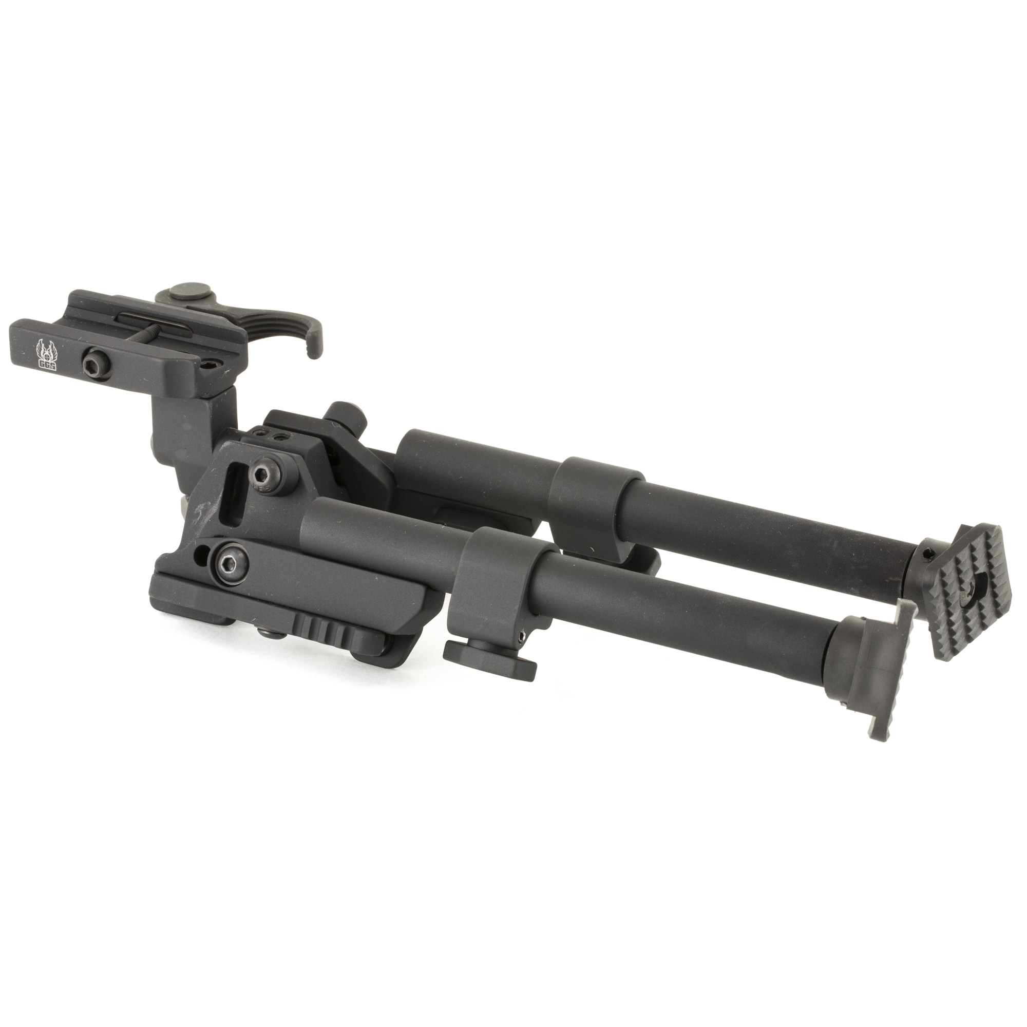 """GG&G's Quick Detach Heavy Duty XDS Bipod with the ability to cant"""" offers a greater range than previous versions. In addition to a much stronger pivot mechanism"""" the design affords 25 degrees of cant in either direction of center. Not only does this increase better rough terrain adjustability"""" but this pivoting capability allows the deployed bipod leg to be used as a vertical foregrip if required for rapid transition. Fits standard 1913 Picatinny Rail."""