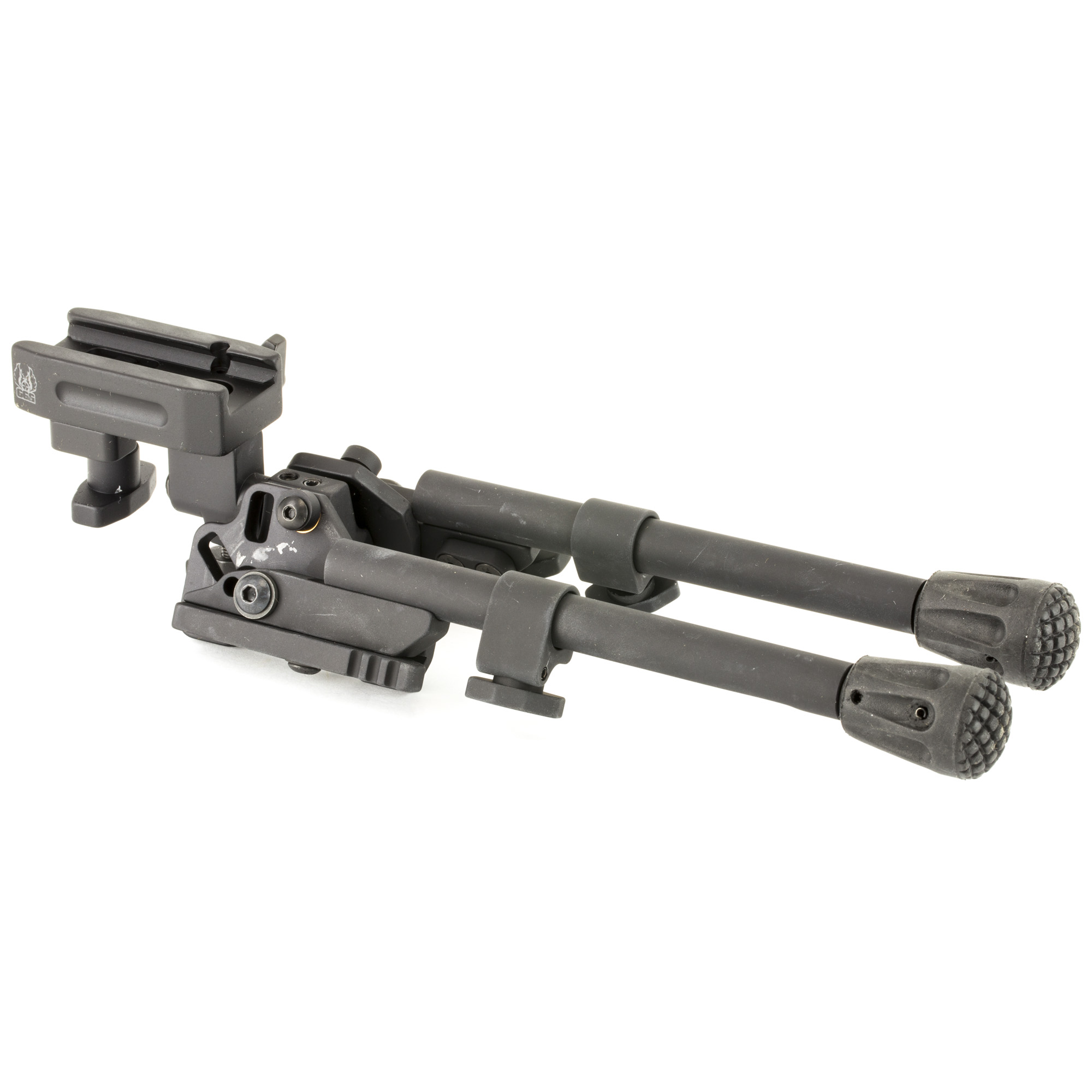 """GG&G's Tactical XDS-2 Bipod (8""""-10.5"""") incorporates a head that pans or swivels"""" cants"""" provides a system that would allow the bipod legs to lock forward at a 45-degree angle for difficult terrain"""" and provides rubber feet that are replaceable and grip more surfaces. It has 20 degrees of panning capability to the left and right of the center position and 25 degrees of canting capability each side of center. When the Tactical Bipod legs are deployed and locked in the straight down position they can be independently adjusted from 8"""" to 10.25""""."""