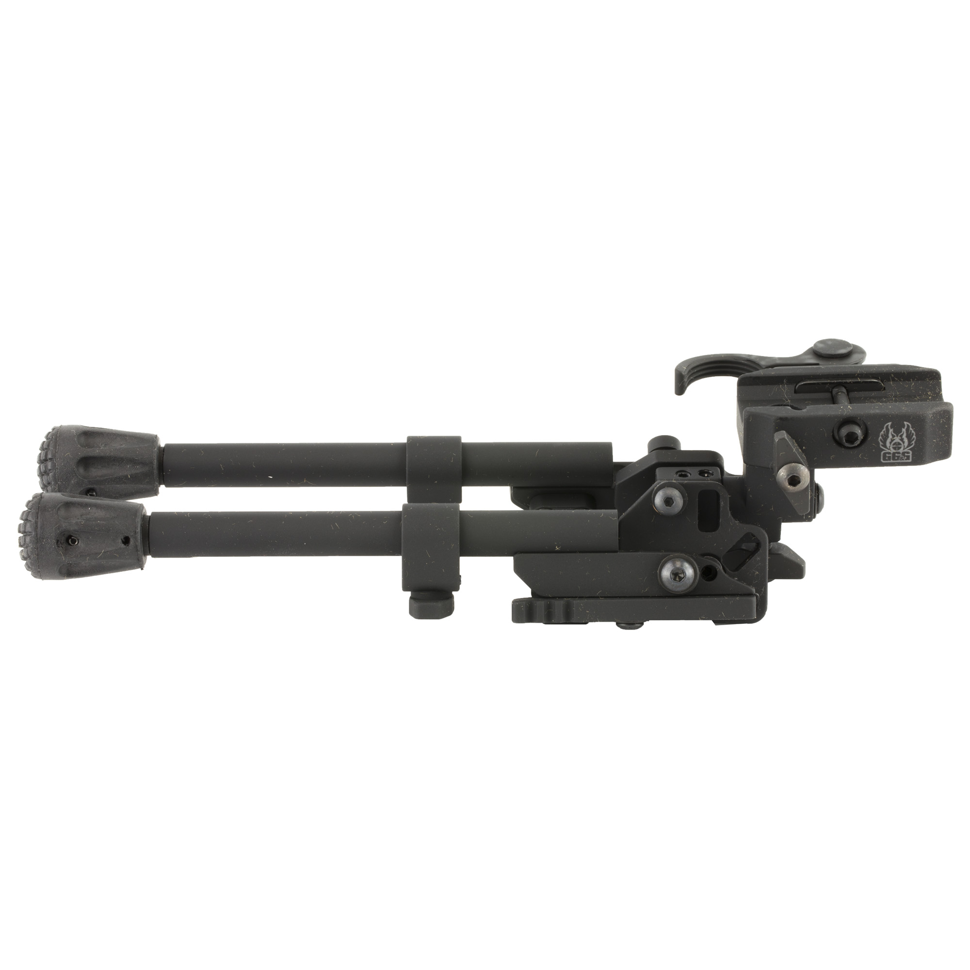 """GG&G's XDS-2 QD Quick Detach Tactical Bipod has a quick detach head that cants 25 degree"""" pans 20 degree (swivels left to right 20 degree)"""" a leg locking system that allows the bipod legs to lock forward at a 45 degree angle for difficult terrain"""" and rubber feet that grip more surfaces and are replaceable. The Accu-Force Quick Detach System provides an ergonomic QD lever system for quick and rock solid on-off transitions. When the QD Bipod legs are deployed and locked in the straight down position"""" they can be independently adjusted so that the overall height of the bipod ranges from 8"""" to 10.25""""."""