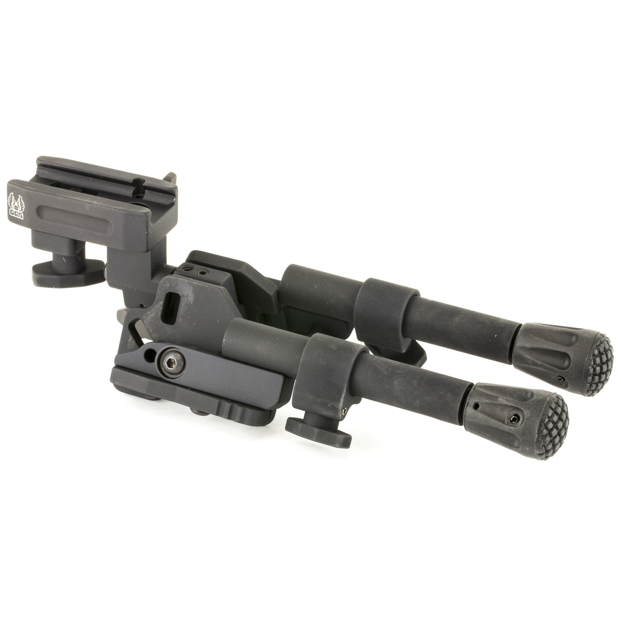 """GG&G's XDS-2C Compact Tactical Bipod is designed to accommodate the M14"""" AR-10"""" AR-30 and other large caliber rifles and carbines. It has a head that pans or swivels (20 degree degrees of panning capability to the left and right of the center position)"""" a head that cants from side to side (25 degree degrees of canting capability each side of center)"""" bipod legs that lock forward at a 45-degree angle for difficult terrain"""" and durable grippy rubber feet that grip more surfaces and are replaceable. When the Tactical Bipod legs are deployed and locked in the straight down position they can be independently adjusted from 6 5/8"""" to 8 1/4"""". Not yet rated for .50 firearms."""