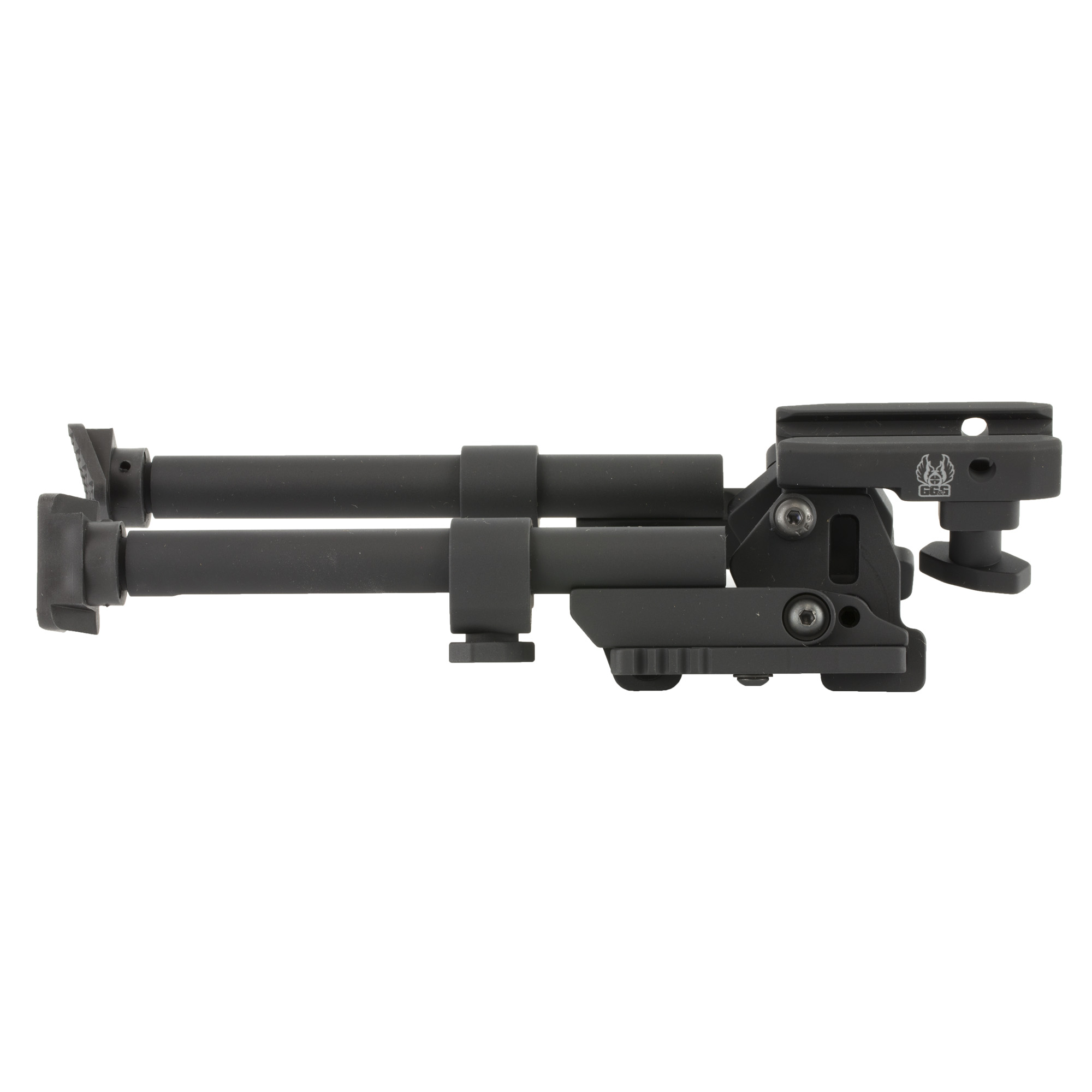 """GG&G's LCB-3 Heavy Duty Tactical Bipod (Large Caliber Bipod) does not pan"""" or swivel but will provide a rock solid stable platform for big guns! It is designed and manufactured to accommodate large caliber firearms including .50BMG. All connection points are designed and manufactured for extreme duty and the design incorporates fully enclosed locking engagements and enlarged rail interface. When the Tactical Bipod legs are deployed"""" they can be independently adjusted from 7 7/8"""" to 10 1/2""""."""