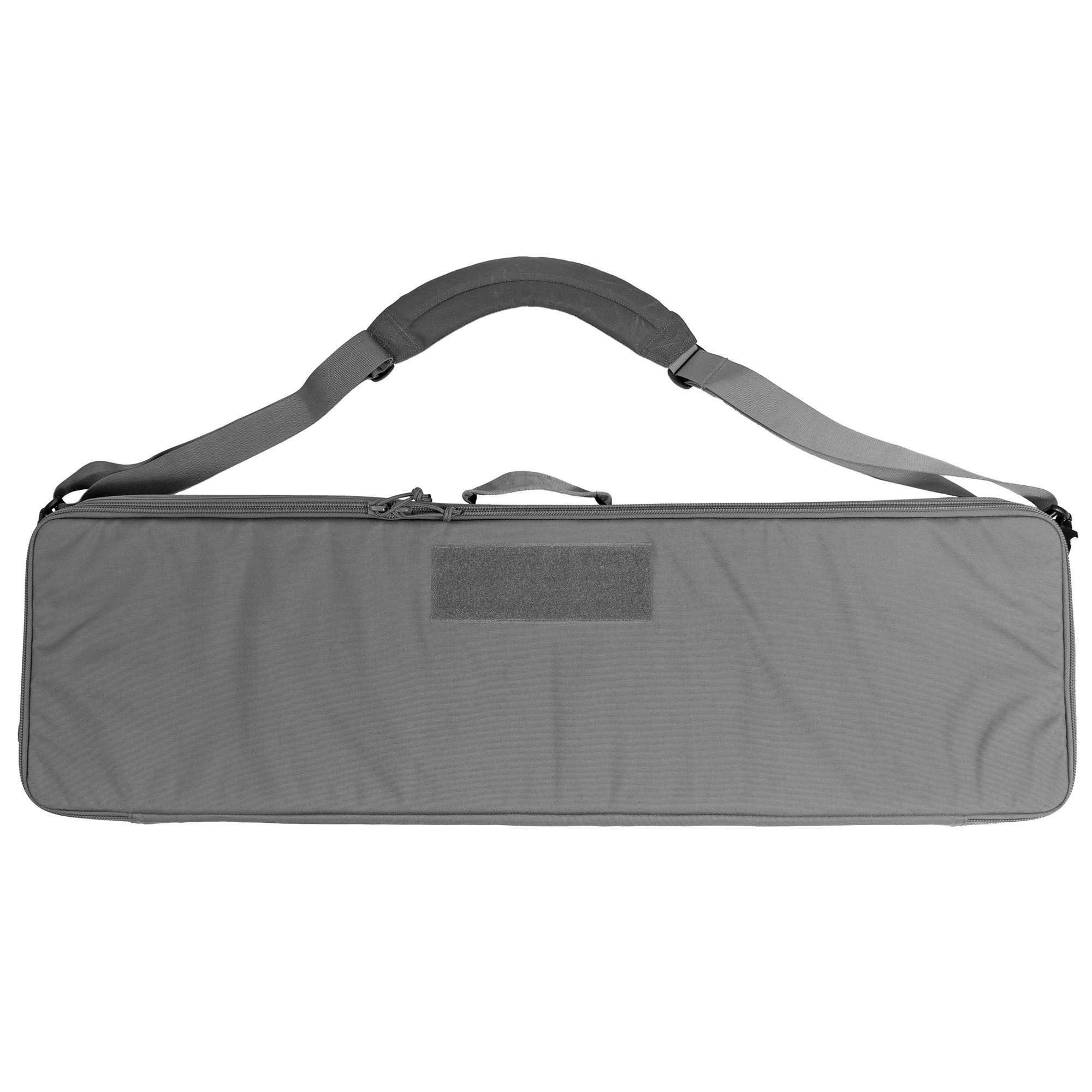 """The Grey Ghost Gear rifle case comes with solid construction"""" endless configurations"""" and is a looker to boot. There are 2 attachment points on either end of the bag for attaching the carrying strap that is included. The front of the bag features a 8X3 inch loop field to attach patches. The inside if the lid has two zippered mesh pockets to store loose items"""" cleaning kit"""" mags"""" ECT. Inside of the body of the bag is covered in loop. this allows the three provided attachment panels to be used in an infinite number of placements to hold any 38 inch or shorter rifle in place or to store a longer rifle in 2 pieces. There are two additional flat tie downs to secure a smaller item in the bag"""" such as a hand gun or spotting scope."""