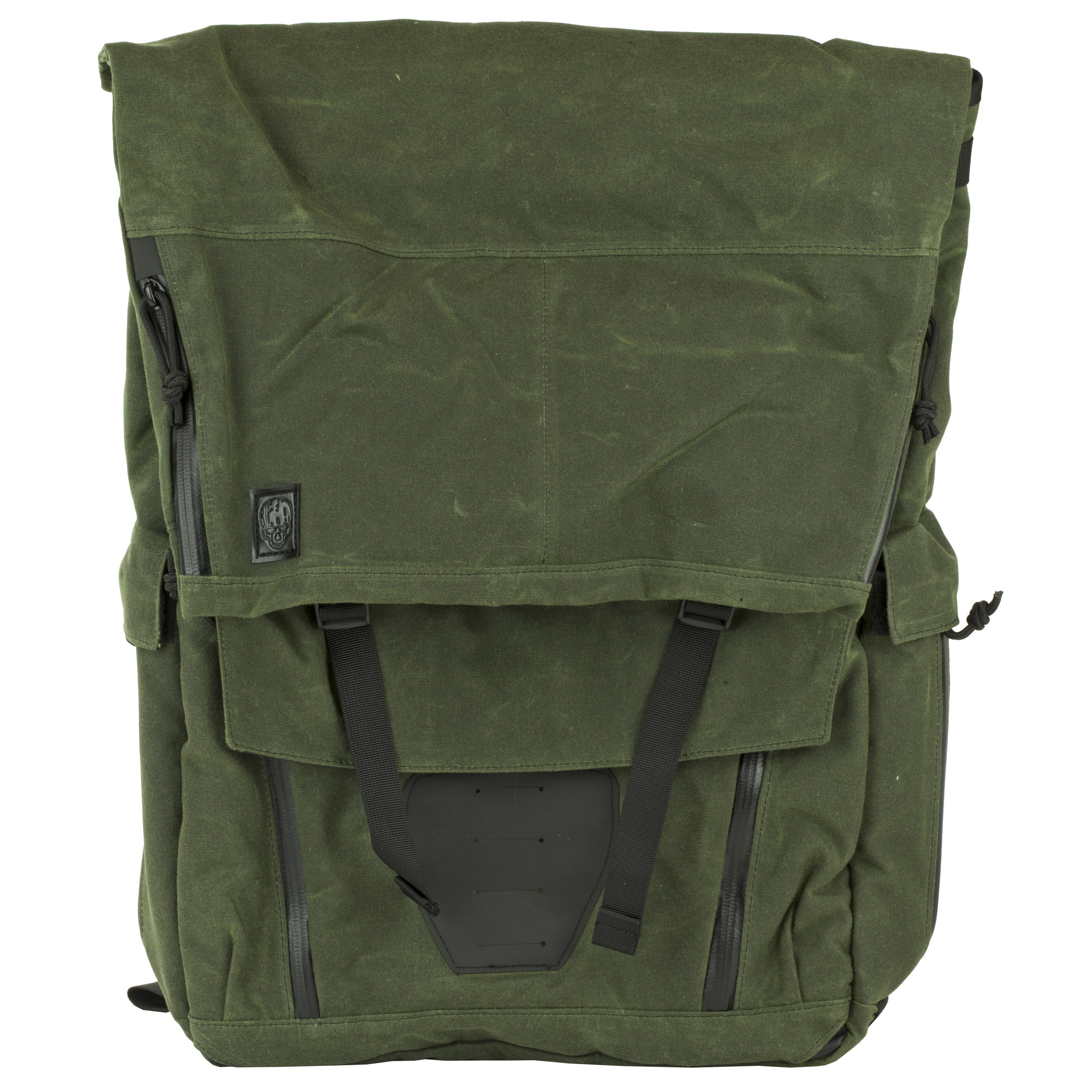 This bag is for the traveler and daily commuter who needs a sturdy bag that does not advertise you're an armed civilian. The front of the pouch has a Hypalon patch with slots cut in it so you can add a light or an extra pouch. Under the flap are two rows of PALS webbing with 7 channels to allow you to expand the capacity of the pack by adding pouches to it.