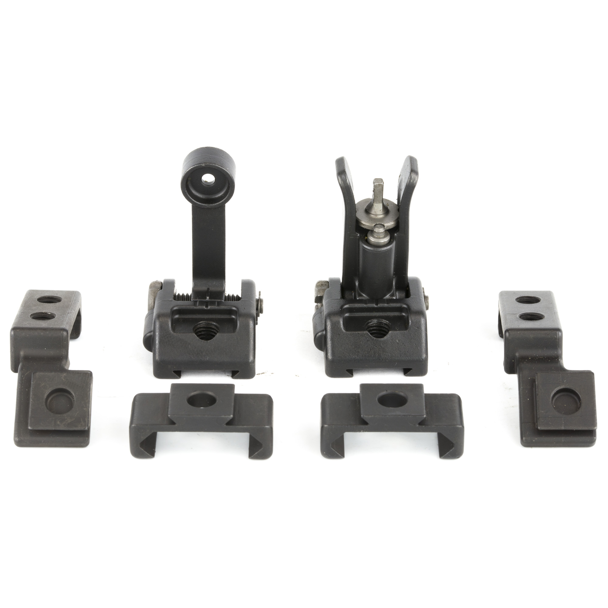 """M2 Sights Deploy Kit-Griffin Armament is proud to introduce affordable Micro Modular Sights (M2) compatible with Picatinny rail systems. Griffin M2 sights offer an industry first"""" patent pending"""" modular base plate system. Constructed from QPQ Treated 17-4 and ordnance grade steel"""" Griffin M2 Sights were designed to be the correct product for every backup sight application. A shooter can use these durable"""" low profile sights in a 12 o'clock mounted application while having the flexibility to reconfigure them to ambidextrous 45 degree angle sights using the alternate and available angle plates. This flexibility ensures these sights can be used by anyone and will never end up in a box of undesirable legacy kit. The full M2 deployment kit includes the front and rear sight assemblies as well as both vertical and angled bases for a complete modular system. However"""" sights and bases are available separately for users who wish to buy parts as needed. The front A2 sight provides elevation adjustment while ensuring maximum aftermarket support for your favorite post"""" be it tritium"""" fiber optic"""" match grade"""" or otherwise. An extremely low profile"""" snag resistant"""" slotted rear windage screw"""" affords easy but more importantly secure adjustability. Robust spring tension of both front and rear flip up assemblies ensures accurate repeatability every time the sight towers are actuated. Never before has a product in this category offer this degree of flexibility. Griffin M2 Sights have a minimal foot print"""" and are among the smallest backup sights on the market. For a mere 2 and half ounces your rifle can be equipped with a durable iron sight system"""" to provide aiming capability in rain"""" snow"""" or fog"""" on or off axis without dependence on batteries or glass."""