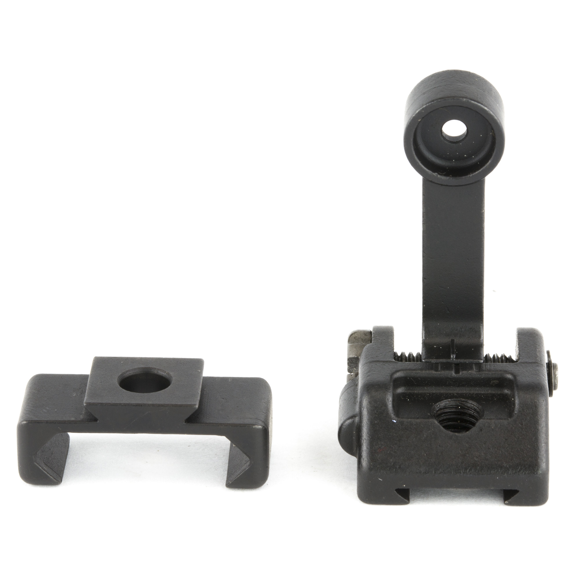 """M2 Sight Rear- Griffin armament is proud to introduce affordable Micro Modular Sights compatible with Picatinny rail systems. Griffin M2 sights offer an industry first"""" patent pending"""" modular base plate system. Constructed from QPQ Treated 17-4 and ordnance grade steel"""" Griffin M2 Sights were designed to be the correct product for every backup sight application. A shooter can use these durable"""" low profile sights in a 12 o'clock mounted application while having the flexibility to reconfigure them to ambidextrous 45 degree angle sights using the alternate and available angle plates. This flexibility ensures these sights can be used by anyone and will never end up in a box of undesirable legacy kit. The full M2 deployment kit includes the front and rear sight assemblies as well as both vertical and angled bases for a complete modular system. However"""" sights and bases are available separately for users who wish to buy parts as needed. The front A2 sight provides elevation adjustment while ensuring maximum aftermarket support for your favorite post"""" be it tritium"""" fiber optic"""" match grade"""" or otherwise. An extremely low profile"""" snag resistant"""" slotted rear windage screw"""" affords easy but more importantly secure adjustability. Robust spring tension of both front and rear flip up assemblies ensures accurate repeatability every time the sight towers are actuated. Never before has a product in this category offer this degree of flexibility. Griffin M2 Sights have a minimal foot print"""" and are among the smallest backup sights on the market. For a mere 2 and half ounces your rifle can be equipped with a durable iron sight system"""" to provide aiming capability in rain"""" snow"""" or fog"""" on or off axis without dependence on batteries or glass."""