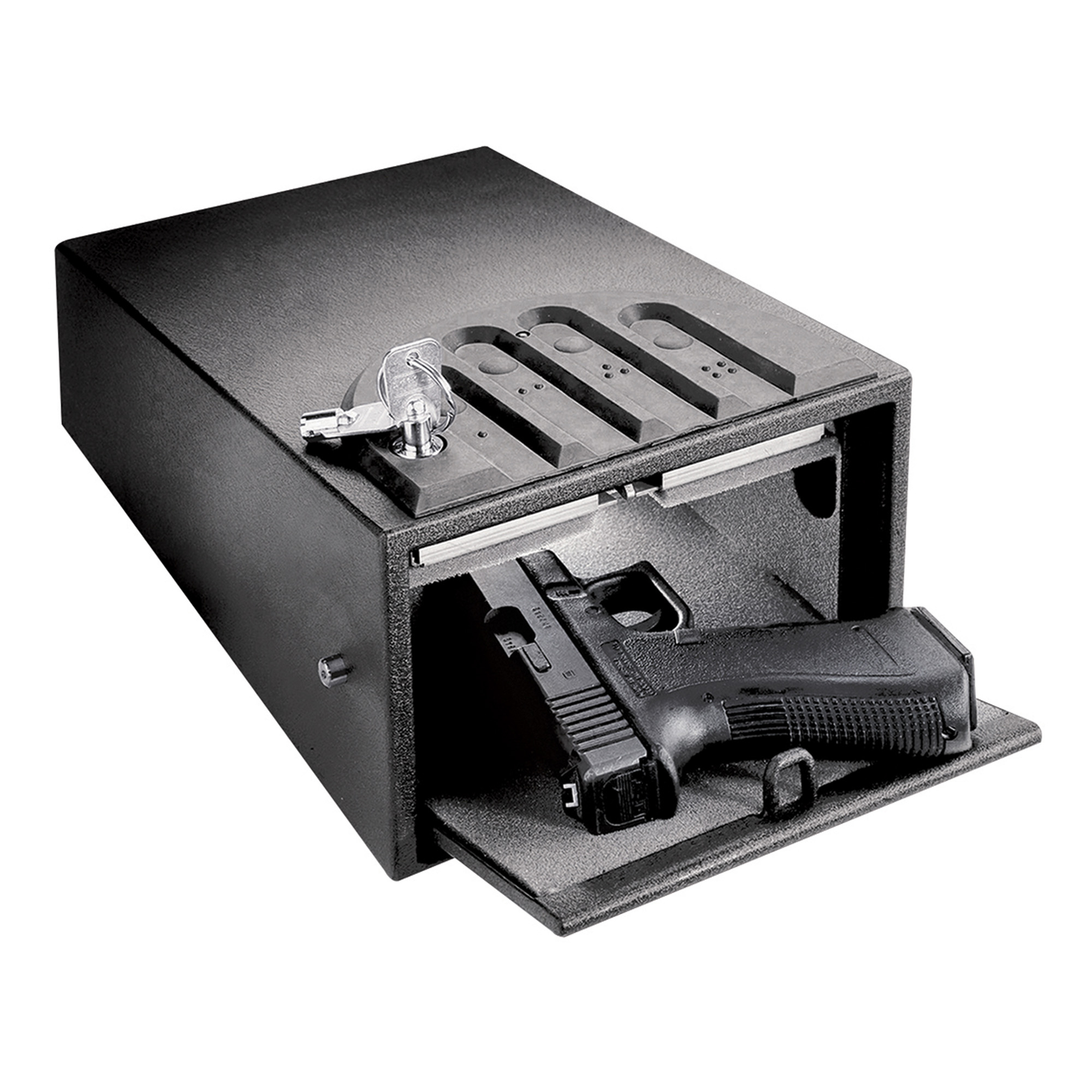 "The GunVault team works day in and day out to provide you with the best possible secure firearm storage solutions. Whether you are looking for a quick access safe to provide protection against burglars or a secure storage device to keep your handguns out of the reach of children"" GunVault has products with the features you want and the strength you need."