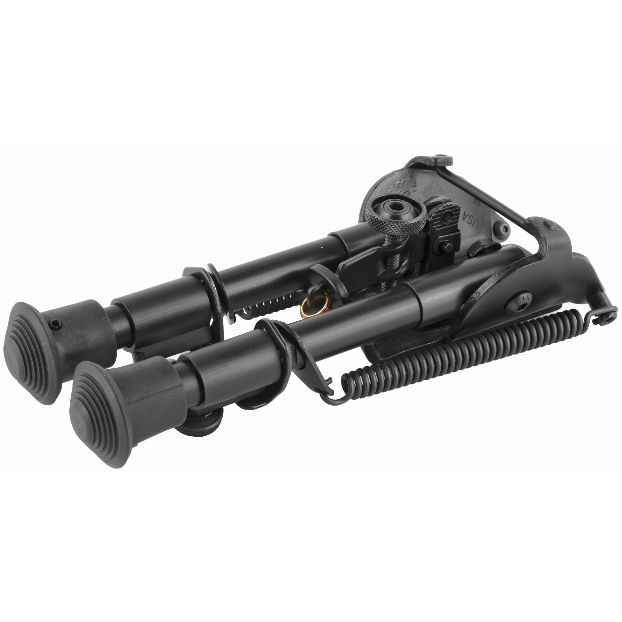 """Harris Engineering's 6""""-9"""" Ultra-Light Bench Rest Bipod attaches to a sling swivel stud. It is manufactured using high quality parts to ensure excellent function and sustainable use. The bipod features an anodized matte black finish."""