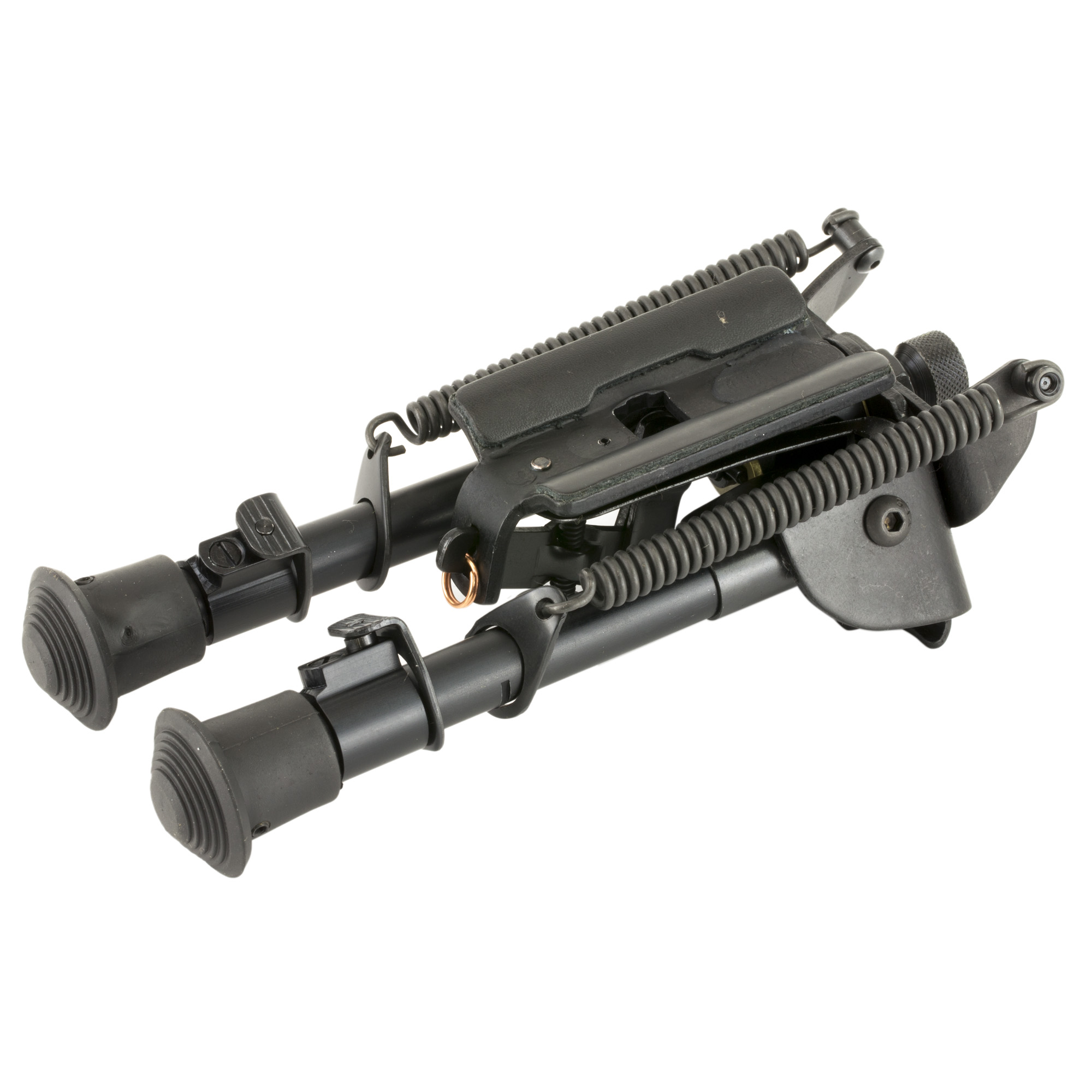 """Harris Engineering's Ultra-Light 6""""-9"""" Bench Rest Swivel/Notched Legs Sling Swivel Bipod is manufactured using high quality parts to ensure excellent function and sustainable use. It attaches to a Sling Swivel Stud. Carrying your rifle with a sling or shooting off-hand is not impeded by the use of a Harris Bipod. Hinged bases have tension adjustment to eliminate tremor or looseness in the crotch area of the bipod. Bipods have an all-weather black anodized finish."""