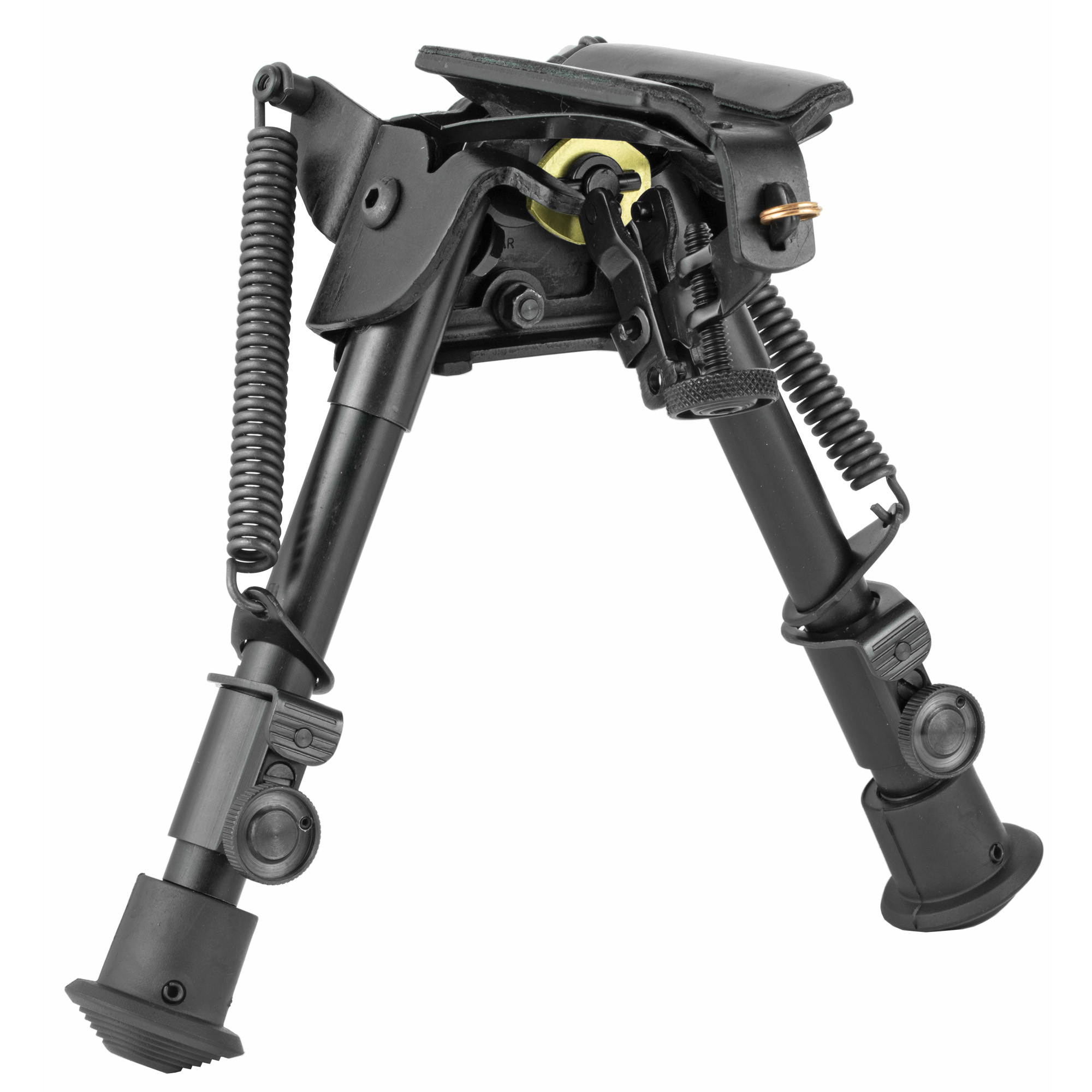 """Harris Engineering's Ultra-Light 6""""-9"""" Bench Rest Swivel/Sling Swivel Bipod is manufactured using high quality parts to ensure excellent function and sustainable use. It attaches to a Sling Swivel Stud. Carrying your rifle with a sling or shooting off-hand is not impeded by the use of a Harris Bipod. Hinged bases have tension adjustment to eliminate tremor or looseness in the crotch area of the bipod. Bipods have an all-weather black anodized finish."""