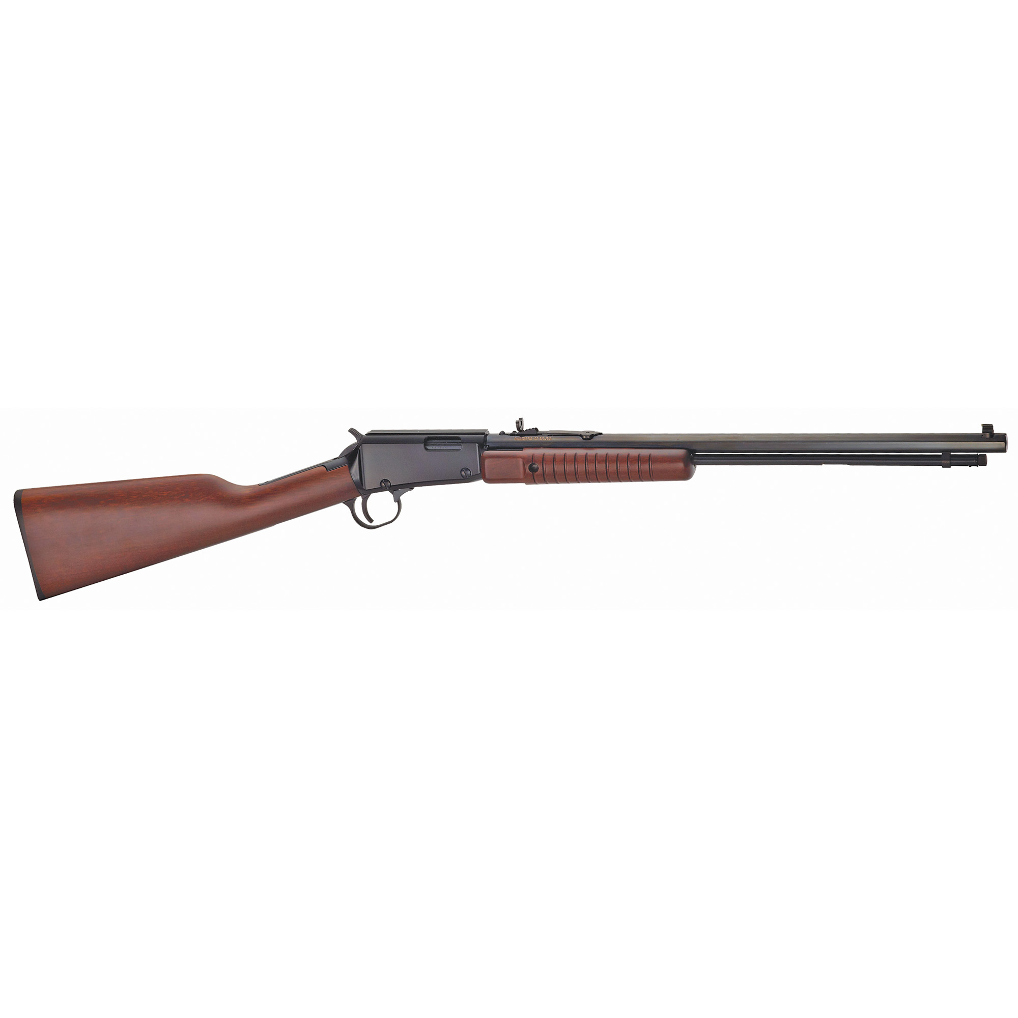 """The Henry Pump Action Octagon is an all-American icon. Fitted with a blue octagonal barrel"""" it resurrects the great old days of the traditional shooting gallery. The Henry Pump Action Octagon is available in .22LR or .22 Magnum and is built for fun."""