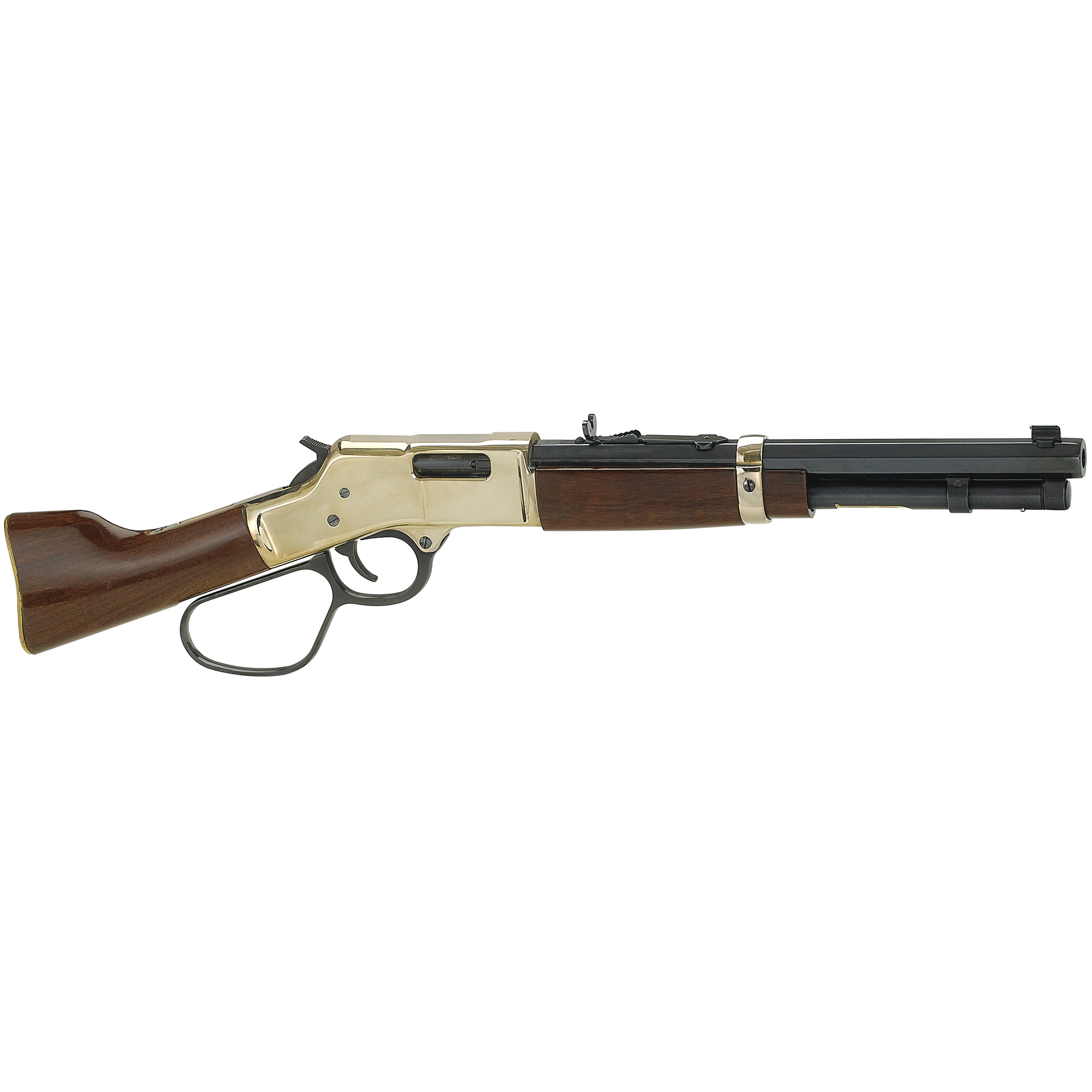 """This Henry Mare's Leg is a cut-down"""" modified variation of the model H006 Big Boy. The large loop lever"""" coupled with the legendary crisp Henry action"""" makes it easy for you to enjoy those rapid-fire repeating shots Steve McQueen used to take down the bad guys."""