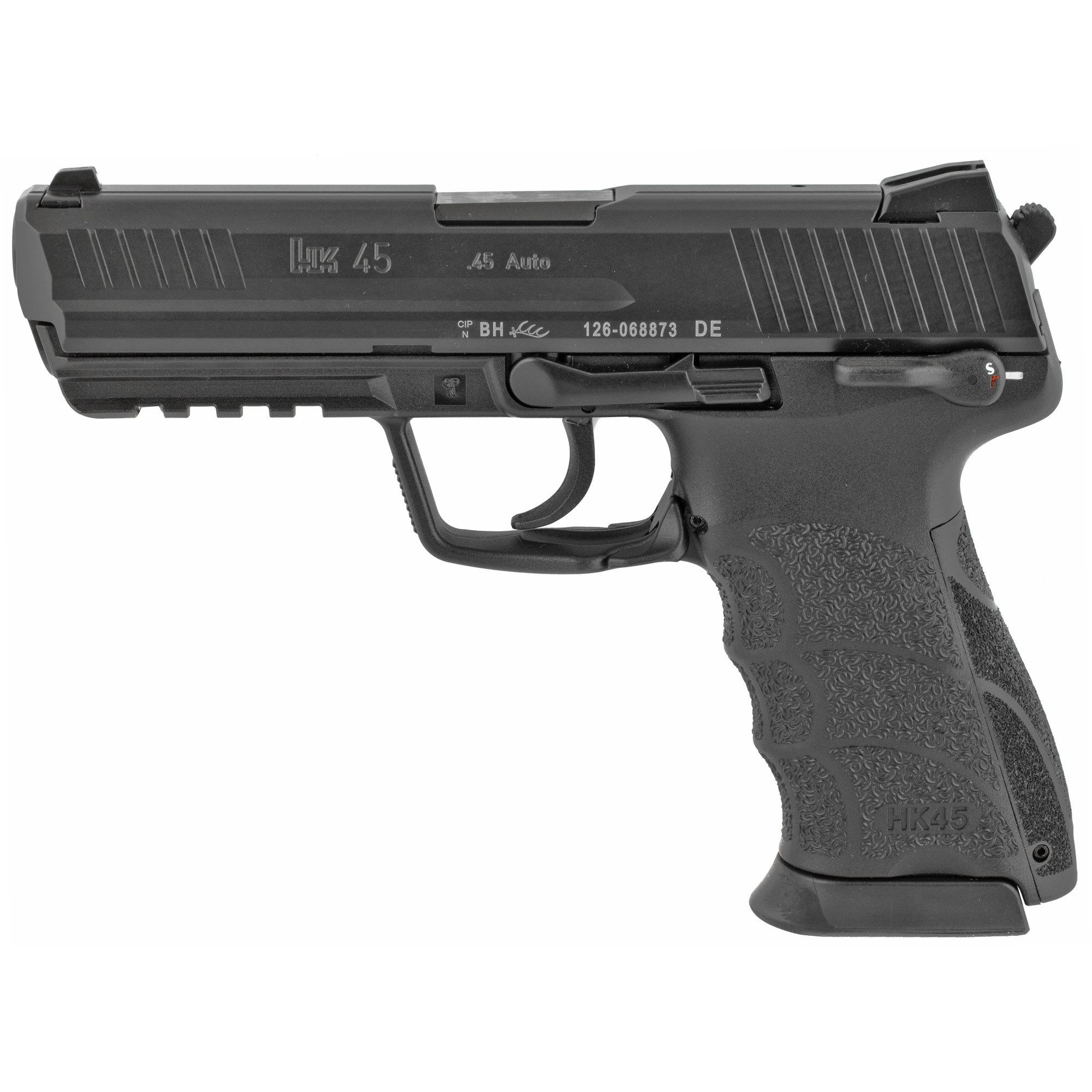 """The HK45 was developed as a product improvement of the highly regarded USP45"""" first released in the 1995. The Caliber .45 ACP HK45 includes several user-inspired enhancements including changeable grip panels (backstraps)"""" a Picatinny MIL-STD-1913 accessory rail"""" better ergonomics"""" and more ambidextrous controls."""