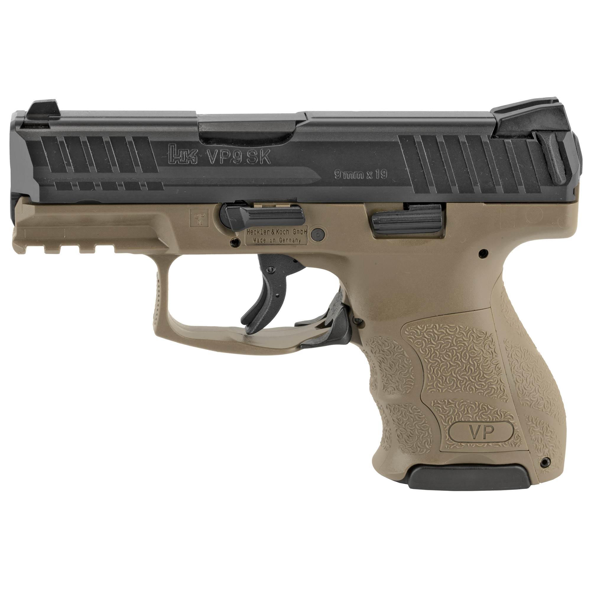 """The eagerly anticipated subcompact model of the acclaimed Heckler & Koch VP Series handgun"""" VP9SK (in 9 mm) has all of the sought-after characteristics of larger frame VP pistols but in a more concealable design. The VPSK has features of the latest"""" state-of-the-art handgun. All controls are completely ambidextrous. Slide releases are present on both sides of the frame and the paddle style magazine release can be easily activated by left- or right-handed shooters."""